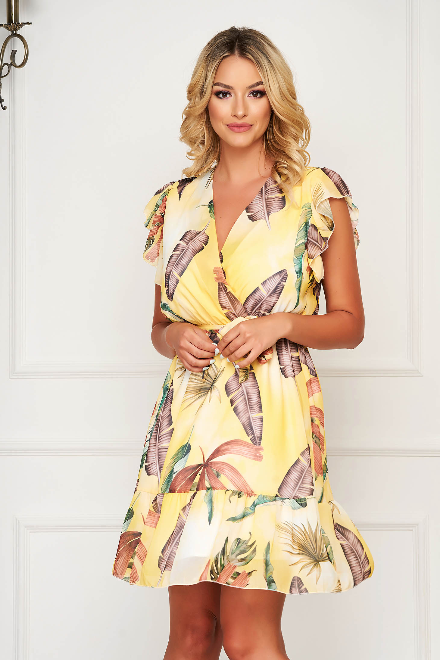 StarShinerS yellow dress short cut daily from veil fabric cloche with elastic waist with ruffle details