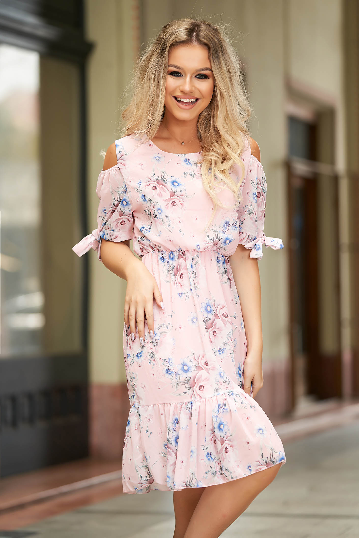 StarShinerS pink dress short cut daily from veil fabric short sleeves both shoulders cut out