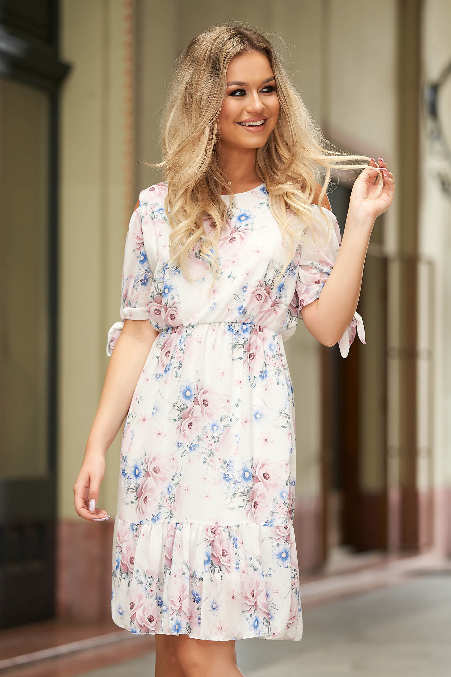 StarShinerS white dress short cut daily from veil fabric short sleeves both shoulders cut out