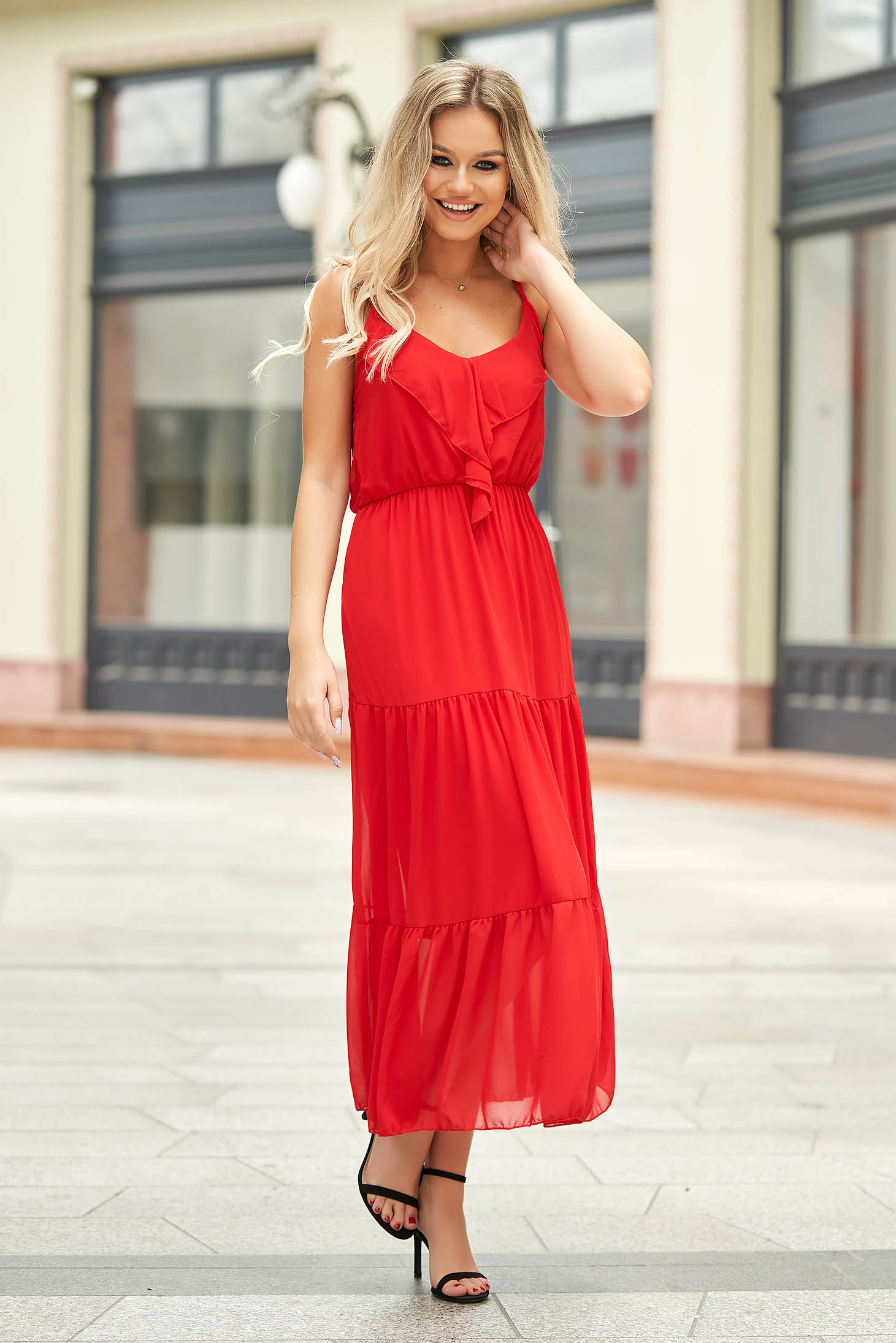Red dress long daily from veil fabric sleeveless with ruffles on the chest
