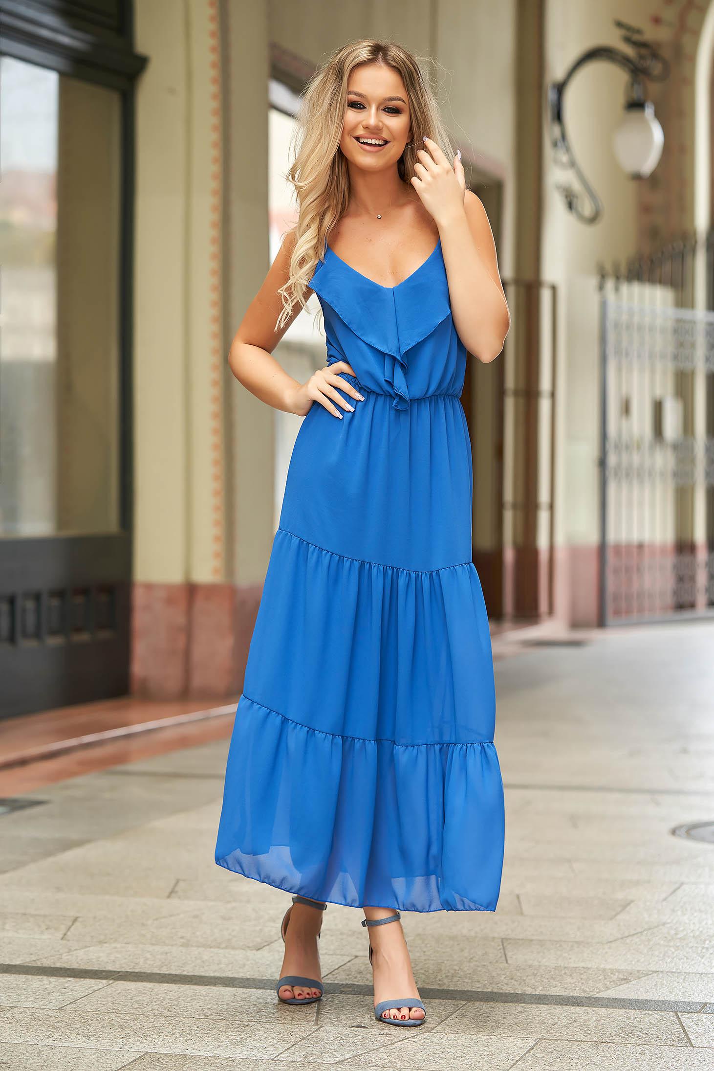 Kék hosszú hétköznapi ruha muszlinból ujjatlan fodros diszitéssel
