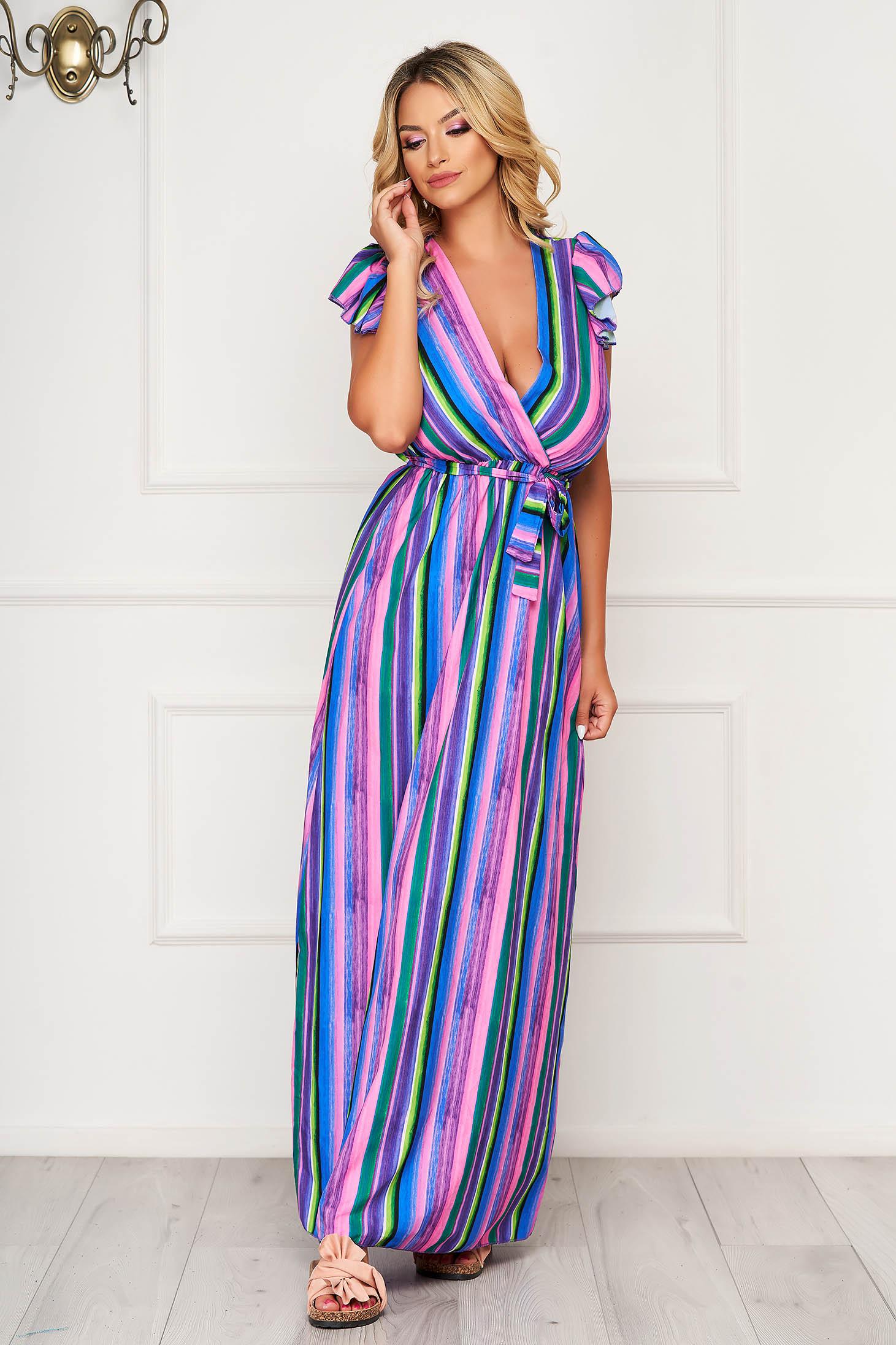 Rochie multicolora lunga de zi din material subtire cu elastic in talie
