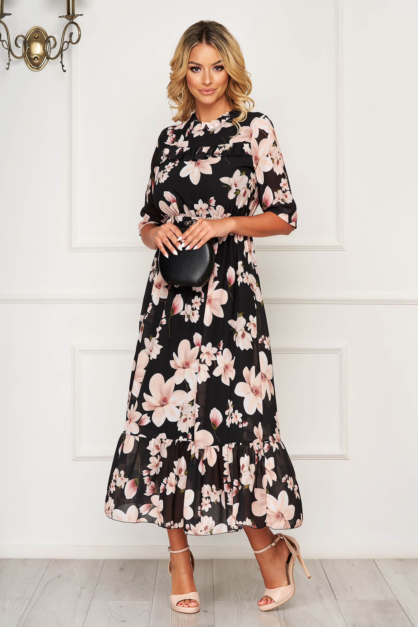 StarShinerS black dress long daily from veil fabric with 3/4 sleeves with ruffle details