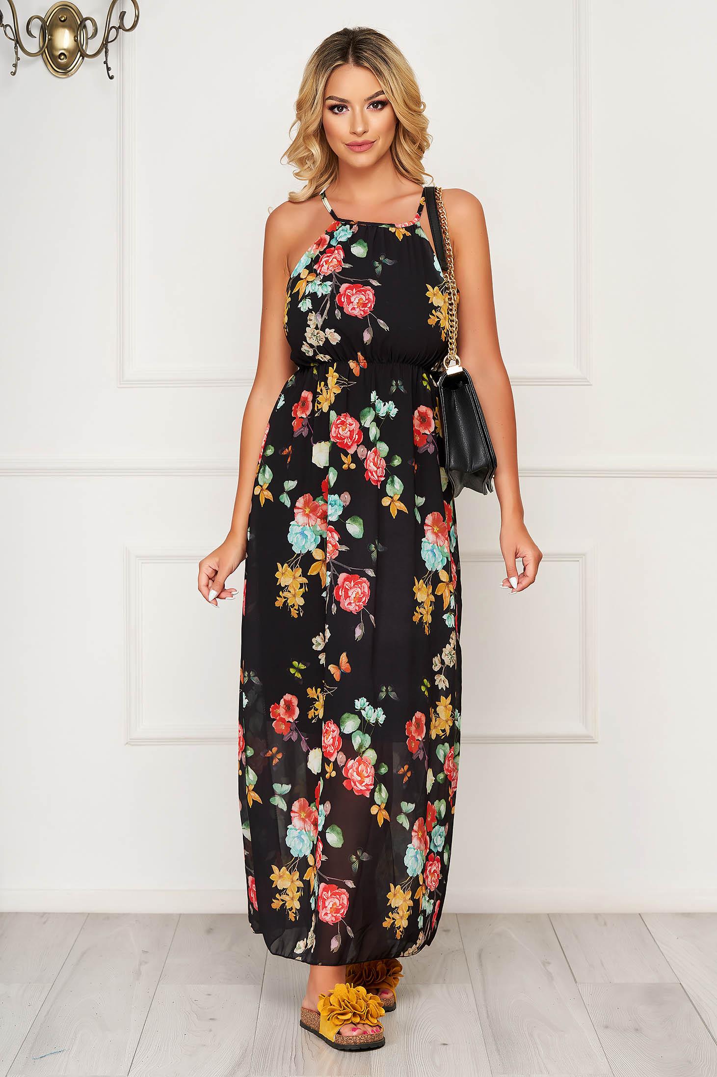 Black dress long daily from veil fabric cloche with elastic waist sleeveless