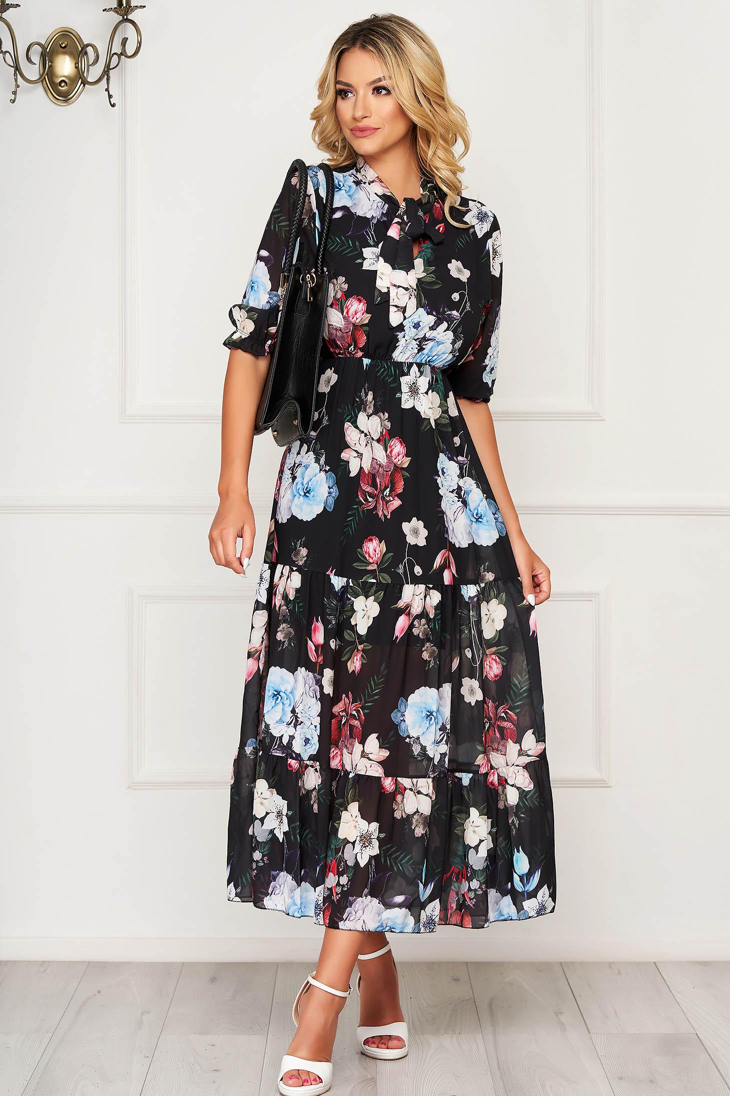 Rochie neagra lunga de zi din material vaporos in clos cu volanase la baza rochiei