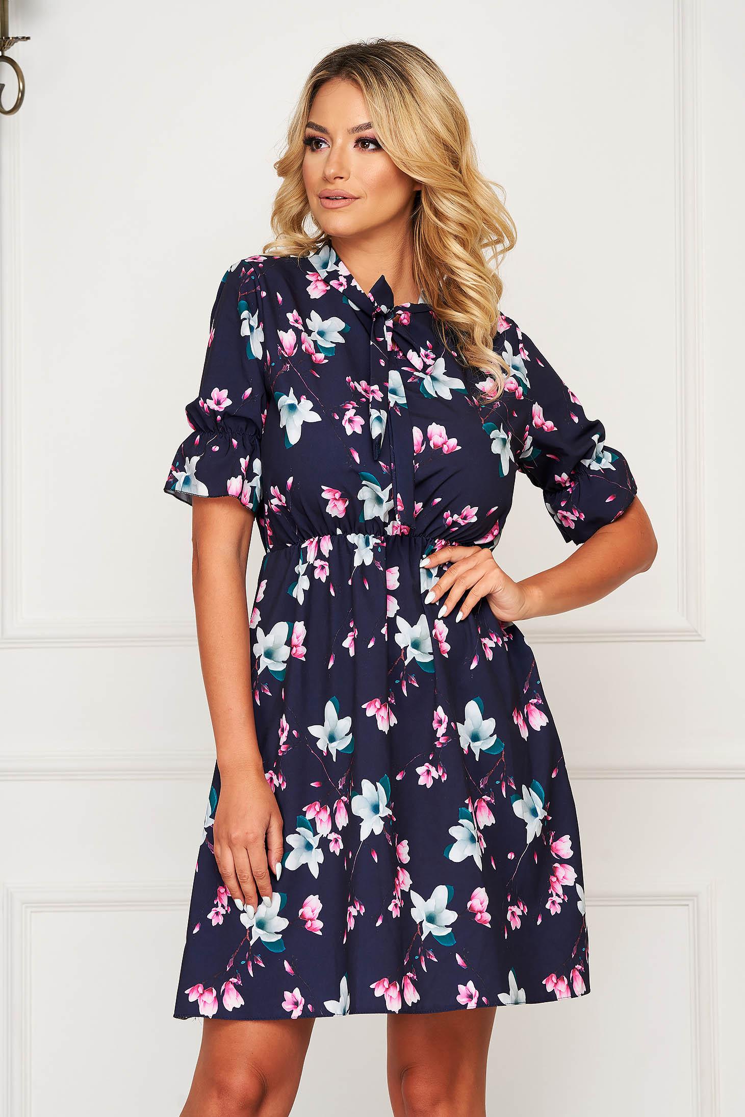 Darkblue dress short cut daily thin fabric cloche with elastic waist short sleeves