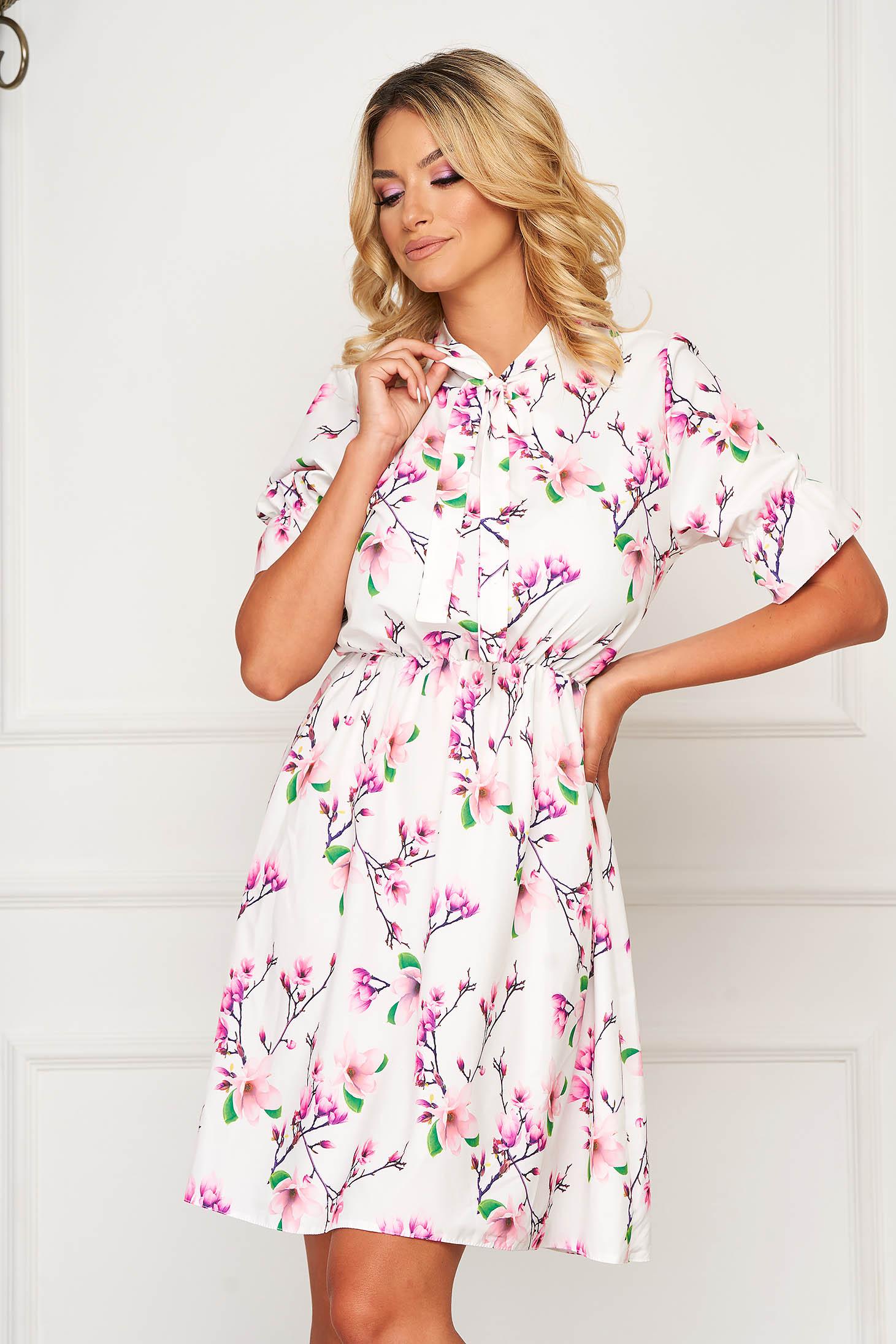 White dress short cut daily thin fabric cloche with elastic waist short sleeves