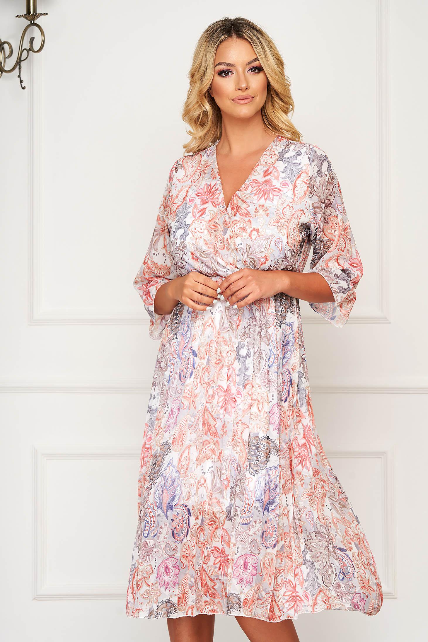 StarShinerS cream dress midi daily airy fabric cloche with elastic waist