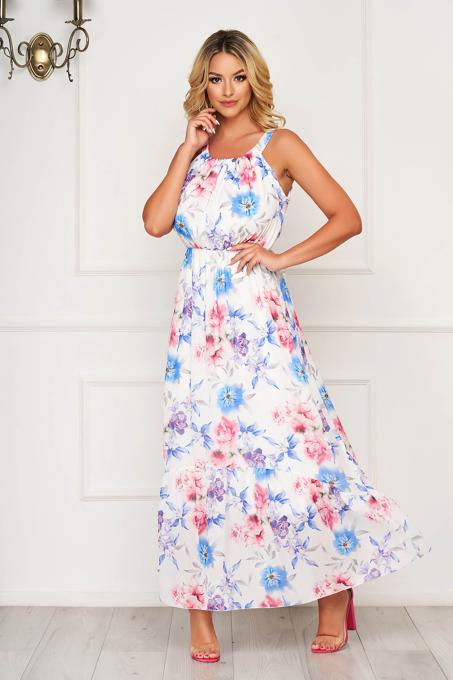 Rochie alba lunga de zi din voal fara maneci cu imprimeu floral