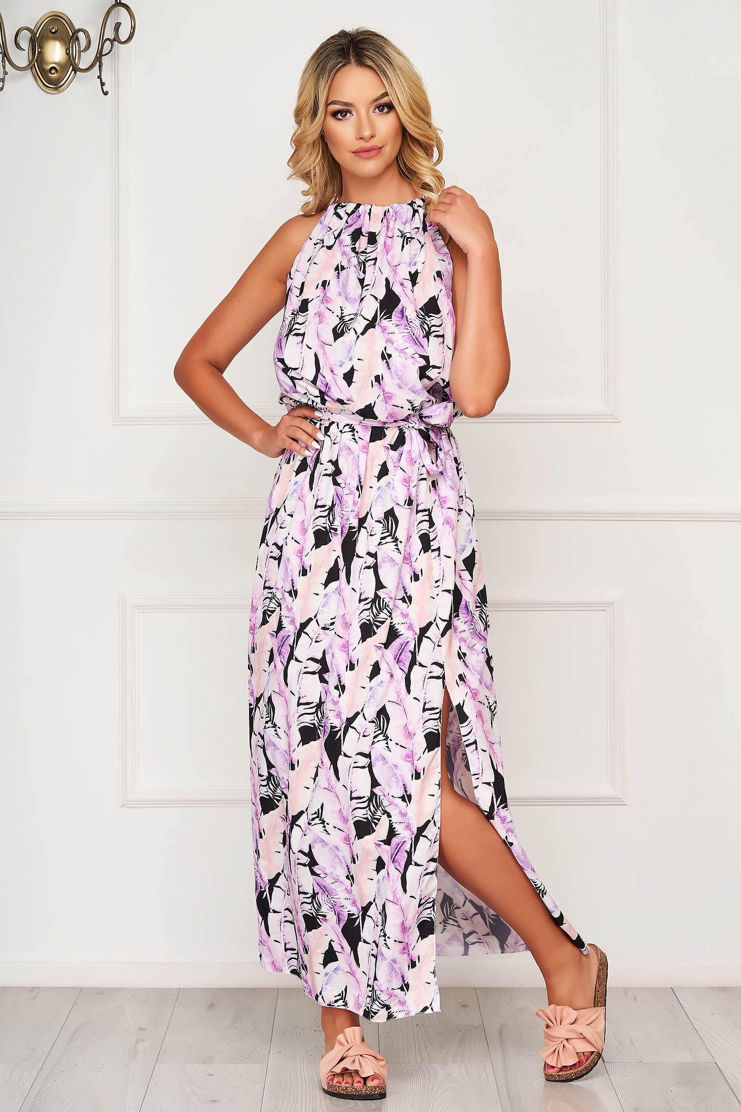 Lila hétköznapi ujjatlan vékony anyag hosszú ruha harang alakú gumirozott derékrésszel