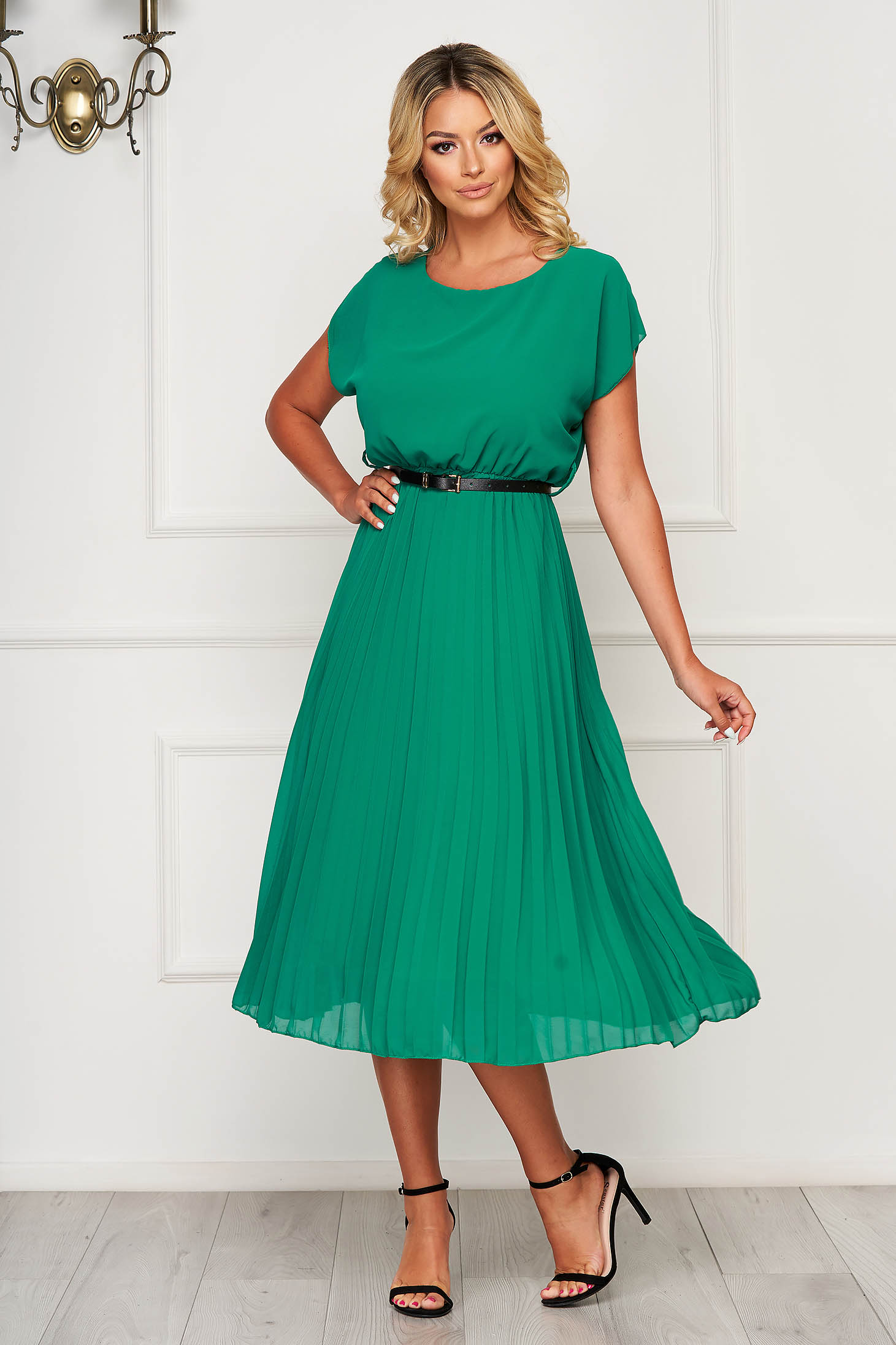 StarShinerS green dress midi elegant folded up airy fabric cloche with elastic waist
