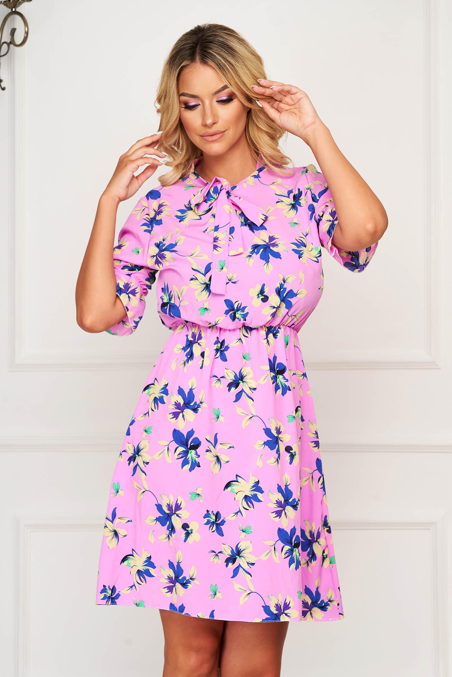 Lightpink dress short cut daily thin fabric cloche with elastic waist