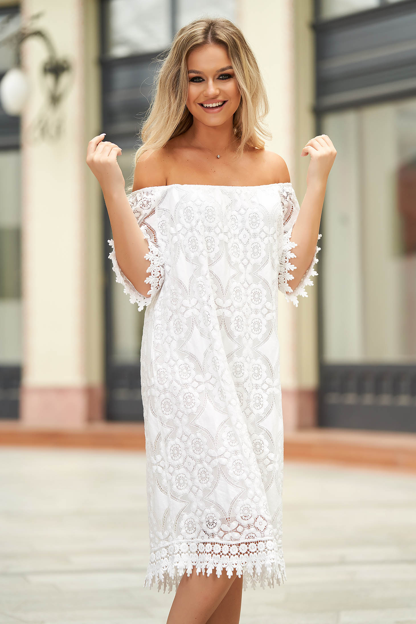 White dress short cut daily flared laced off-shoulder