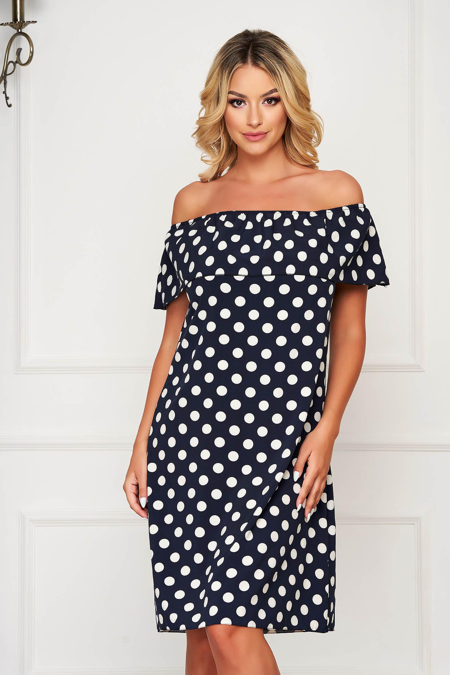 Darkblue dress short cut daily with easy cut thin fabric off-shoulder