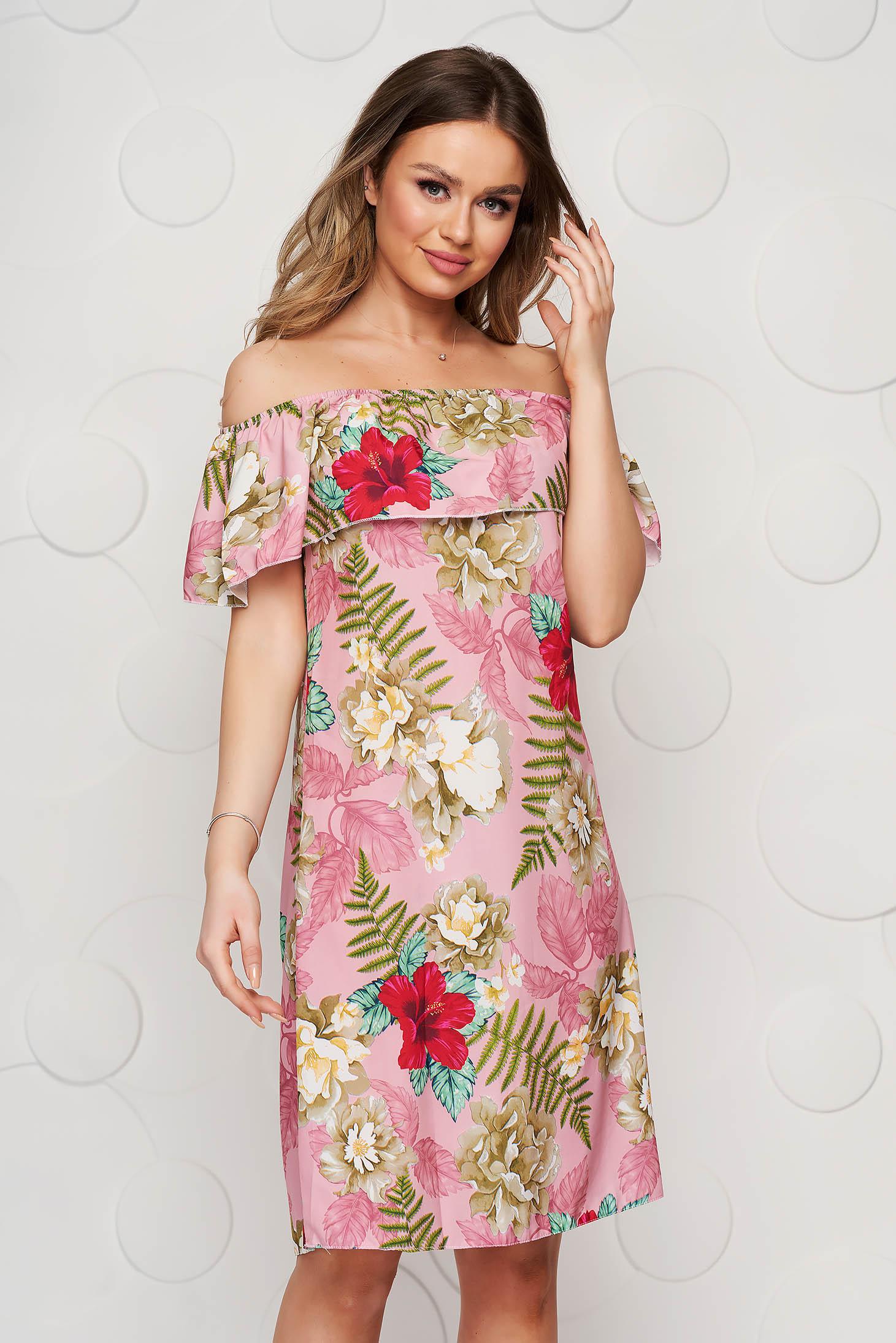 Lightpink dress short cut daily thin fabric flared off-shoulder