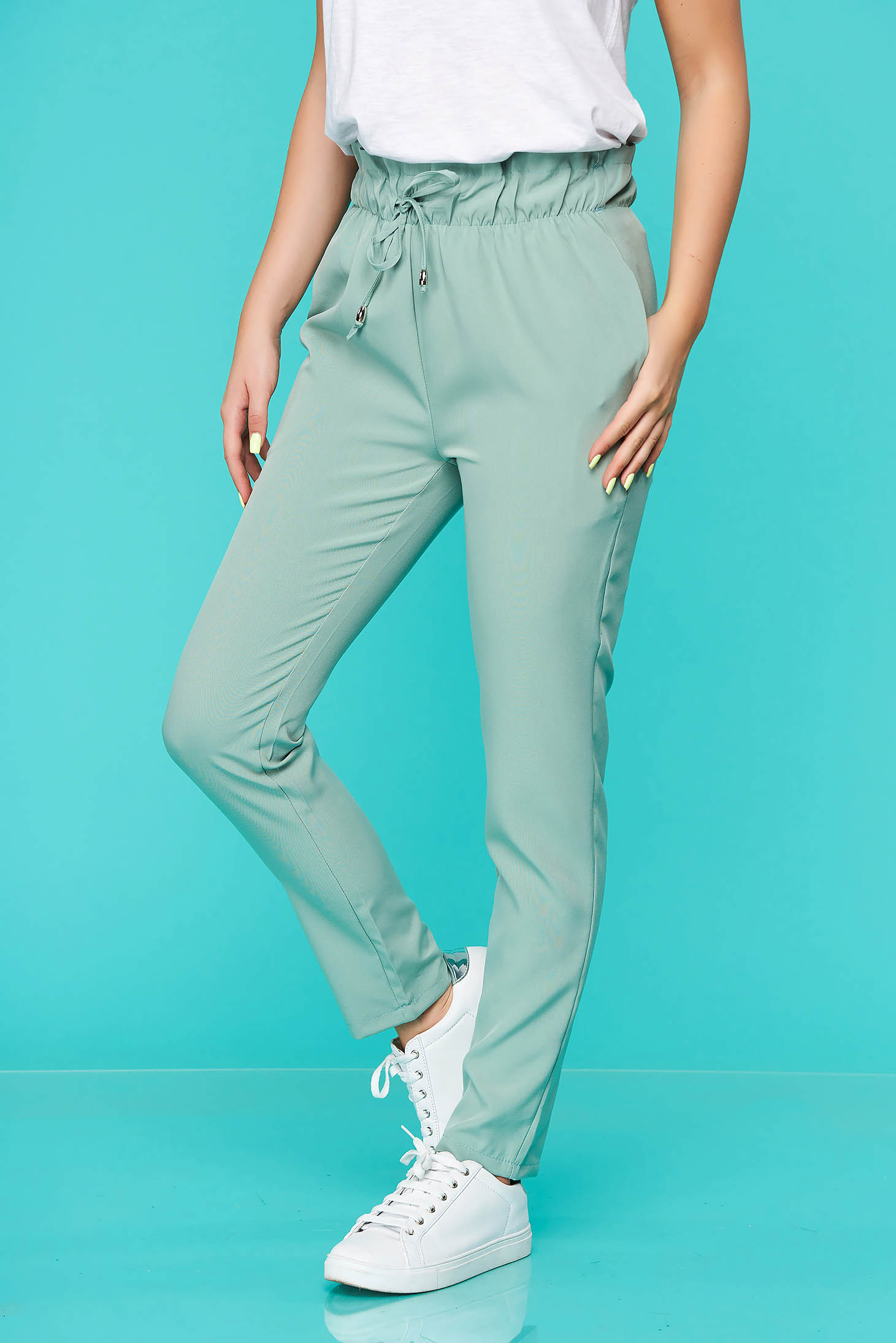Lightgreen trousers casual thin fabric with elastic waist with pockets