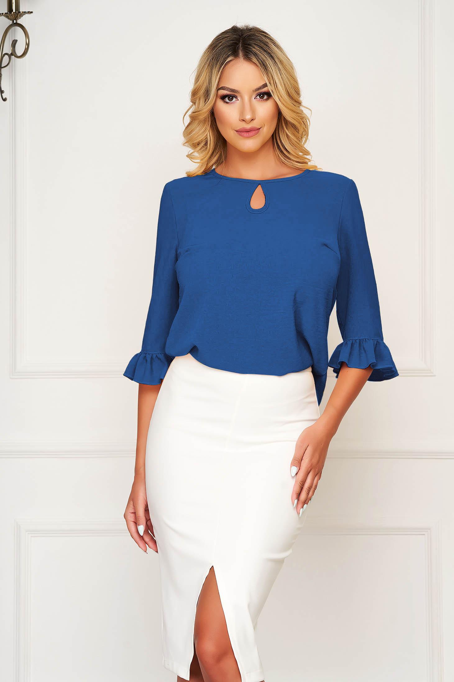 Bluza dama StarShinerS albastra office cu croi larg cu volanase