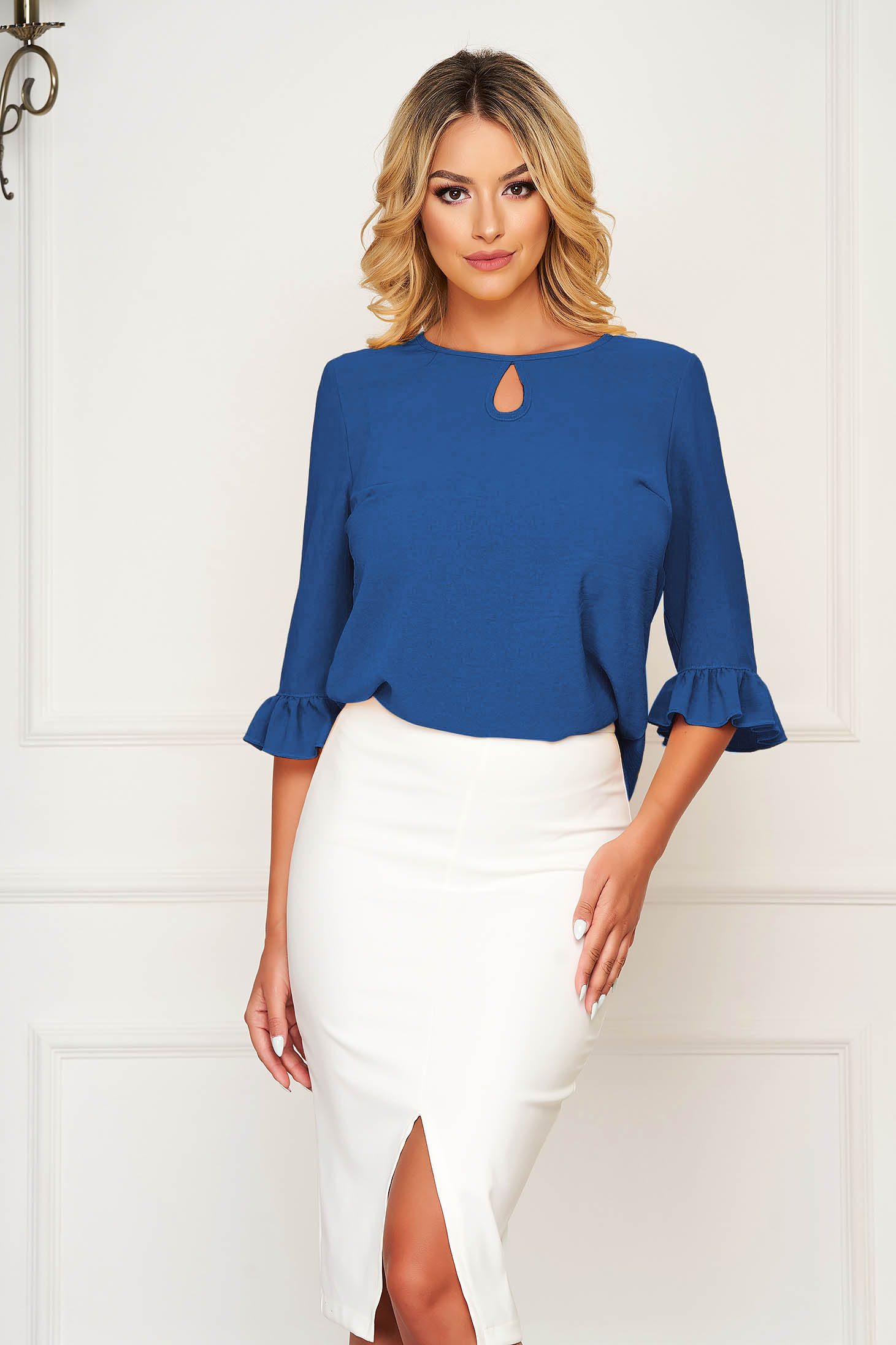 StarShinerS blue women`s blouse office from veil fabric flared with ruffle details