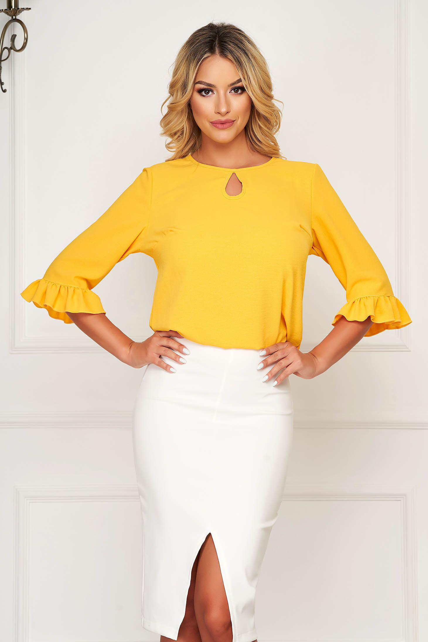 StarShinerS yellow women`s blouse office from veil fabric flared with ruffle details