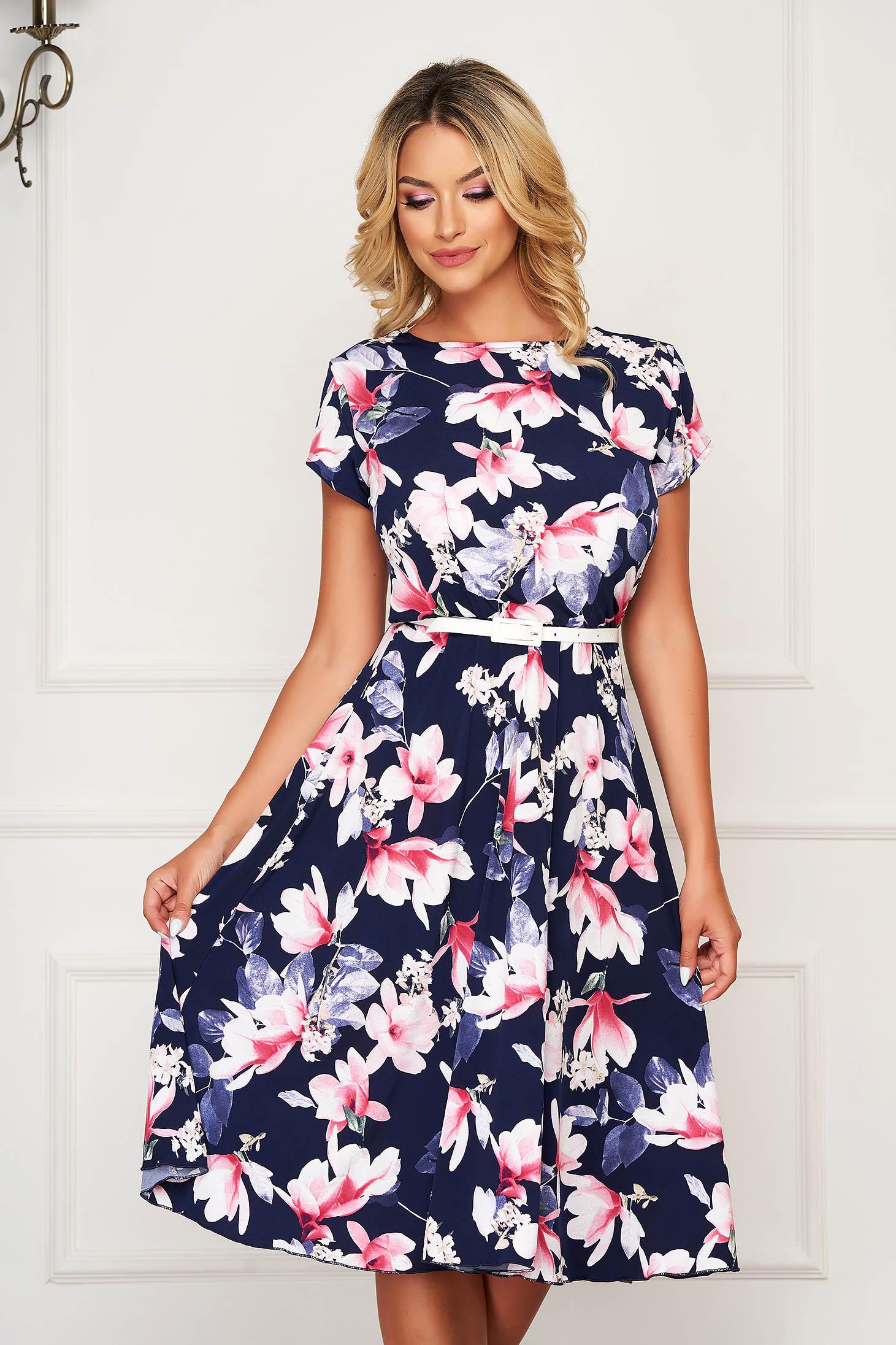 StarShinerS darkblue dress midi daily cloche with elastic waist short sleeves