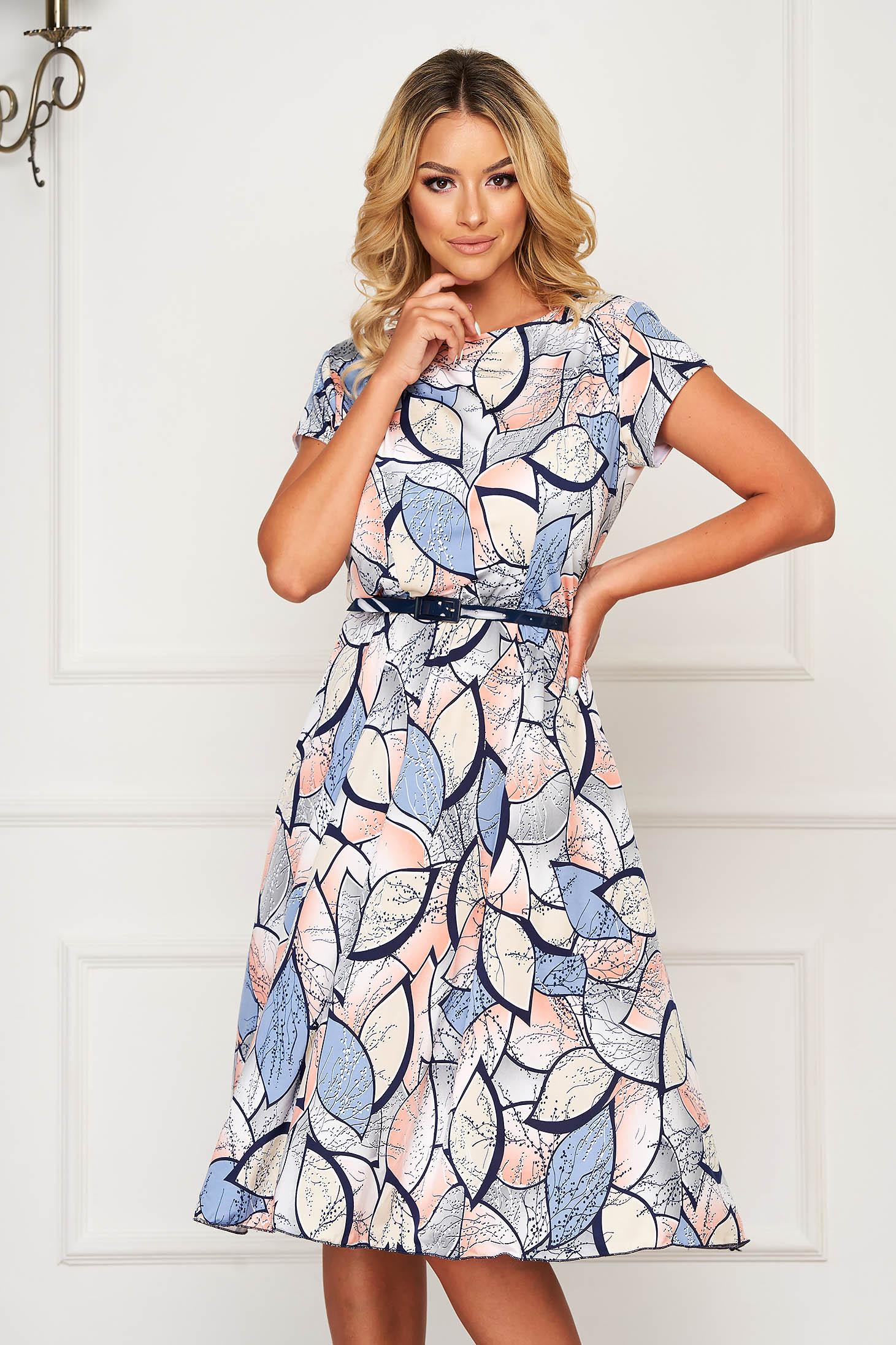 Kék hétköznapi midi ruha harang alakú gumirozott derékrésszel rugalmas anyagból