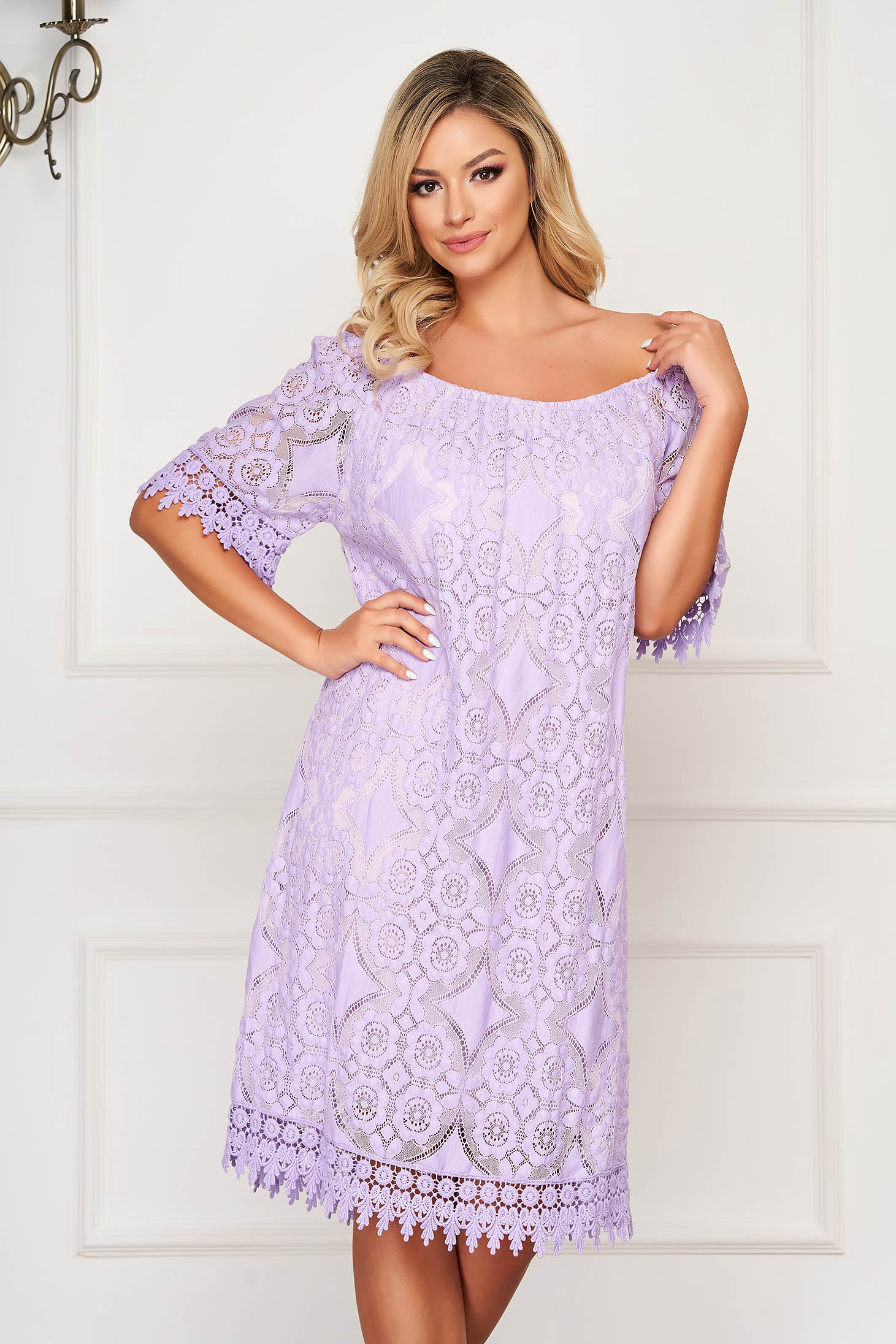 Purple dress short cut daily flared laced off-shoulder