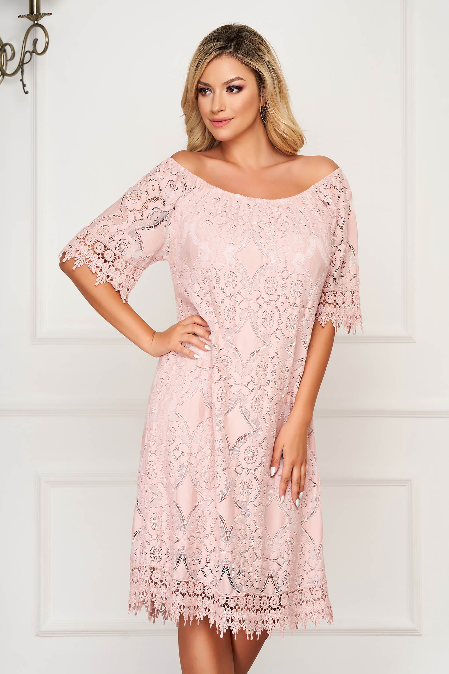 Lightpink dress short cut daily flared laced off-shoulder