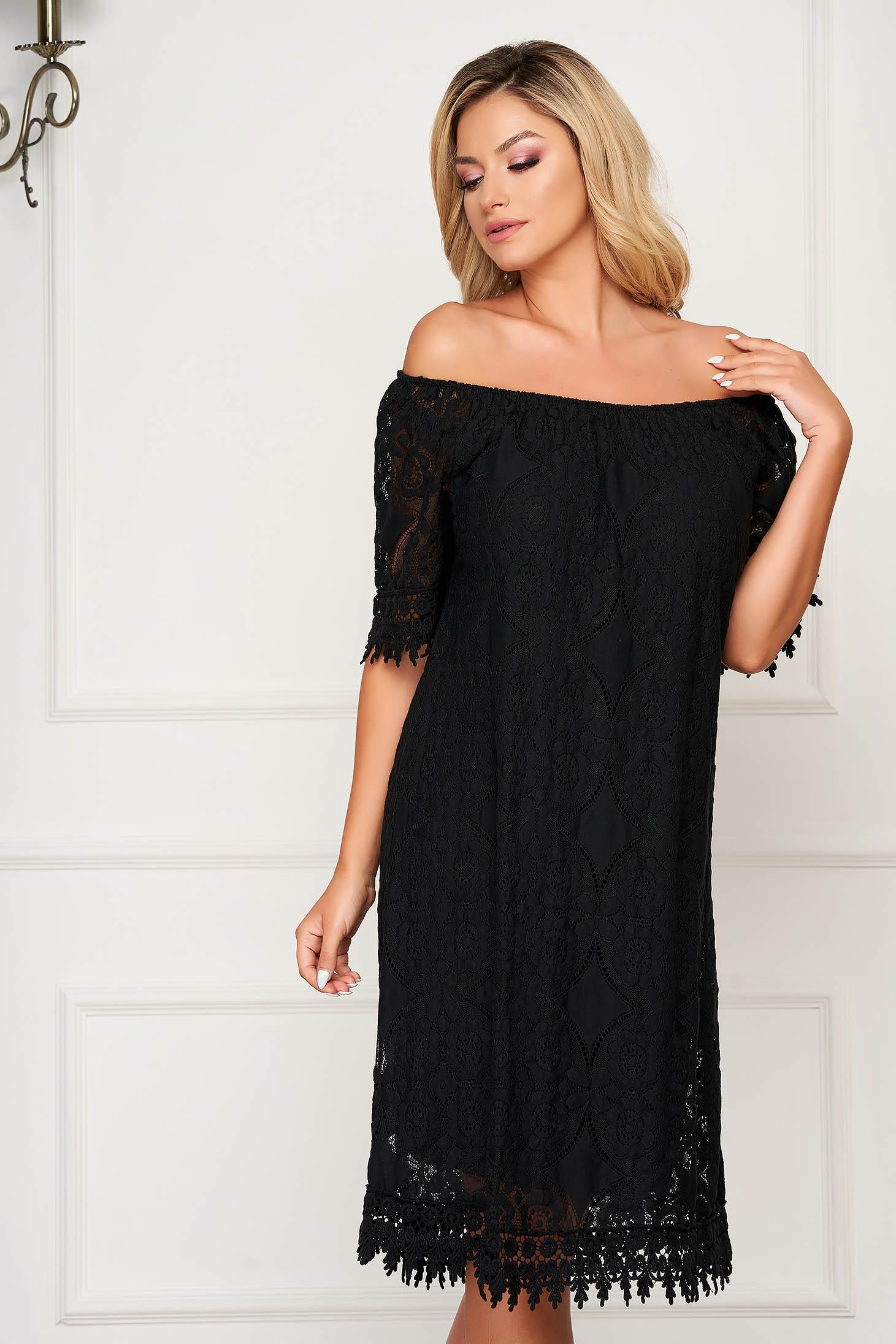 Black dress short cut daily flared laced off-shoulder