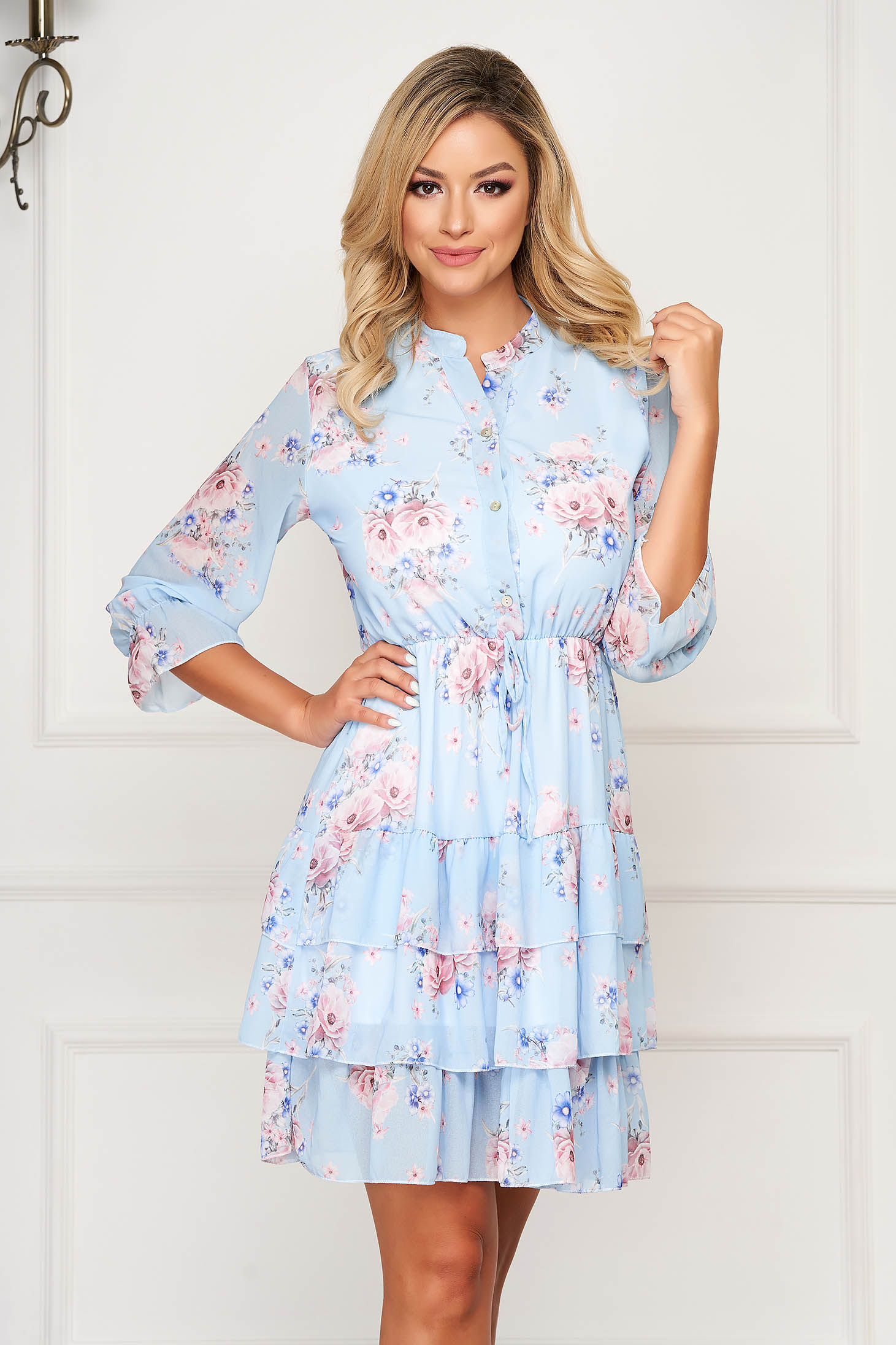 Lightblue dress short cut daily from veil fabric cloche with elastic waist