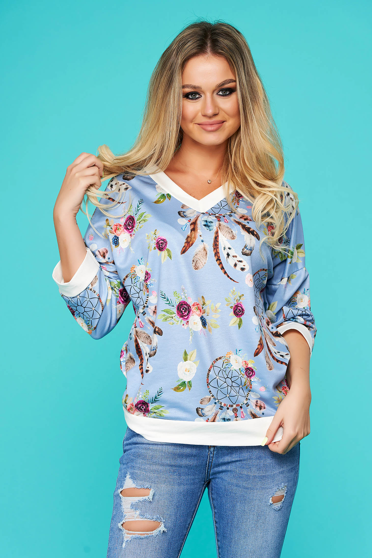 Lightblue women`s blouse casual flared with 3/4 sleeves