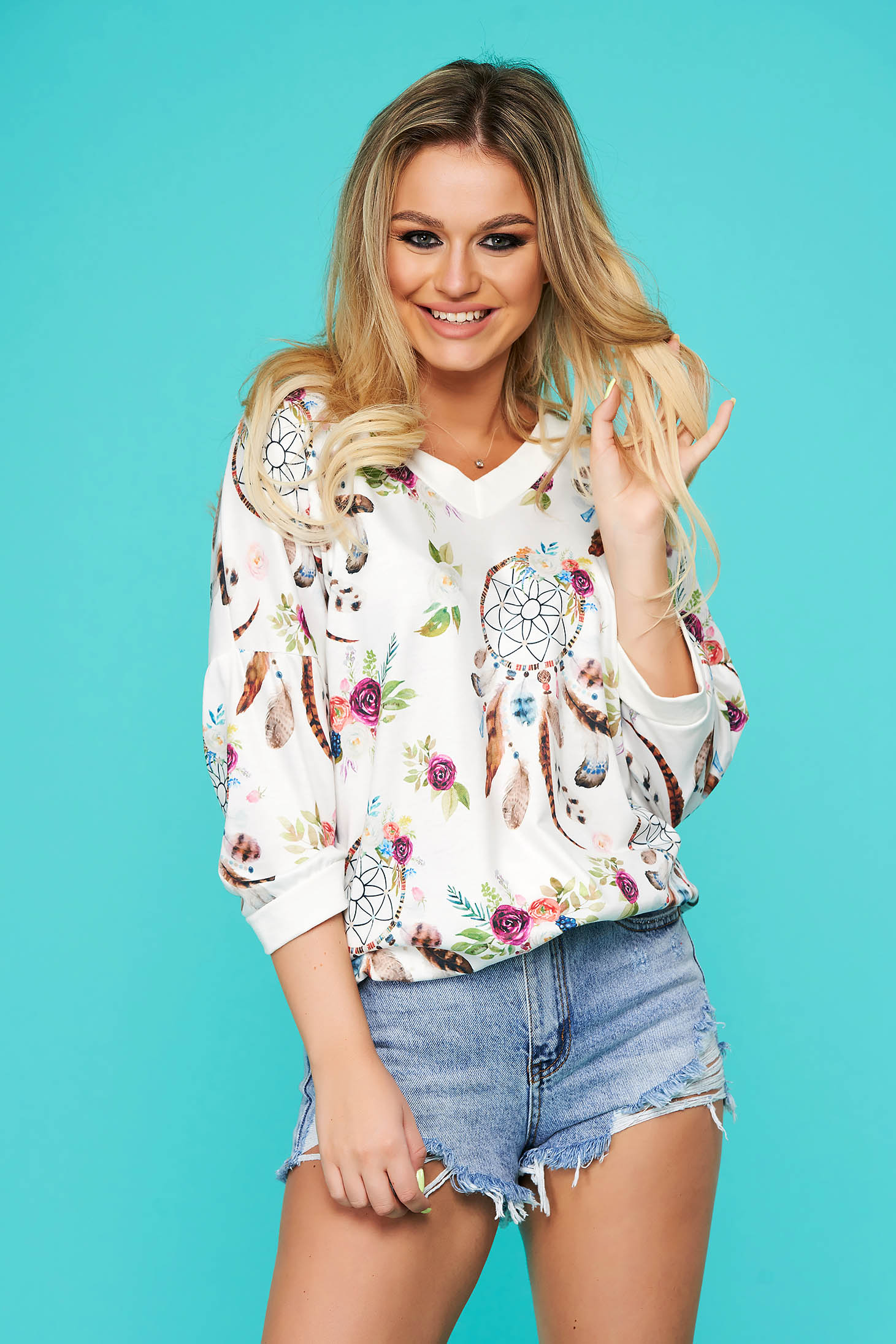 White women`s blouse casual flared with 3/4 sleeves