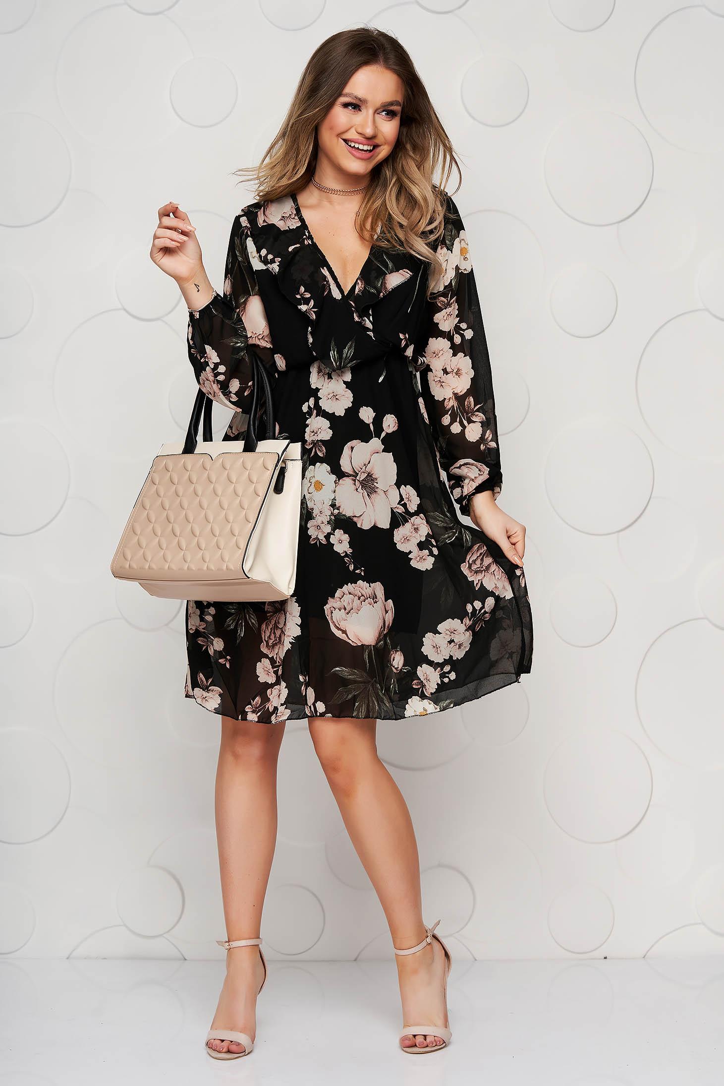 Rochie SunShine neagra eleganta cu decolteu in v cu maneca 3/4 clos cu elastic in talie din voal