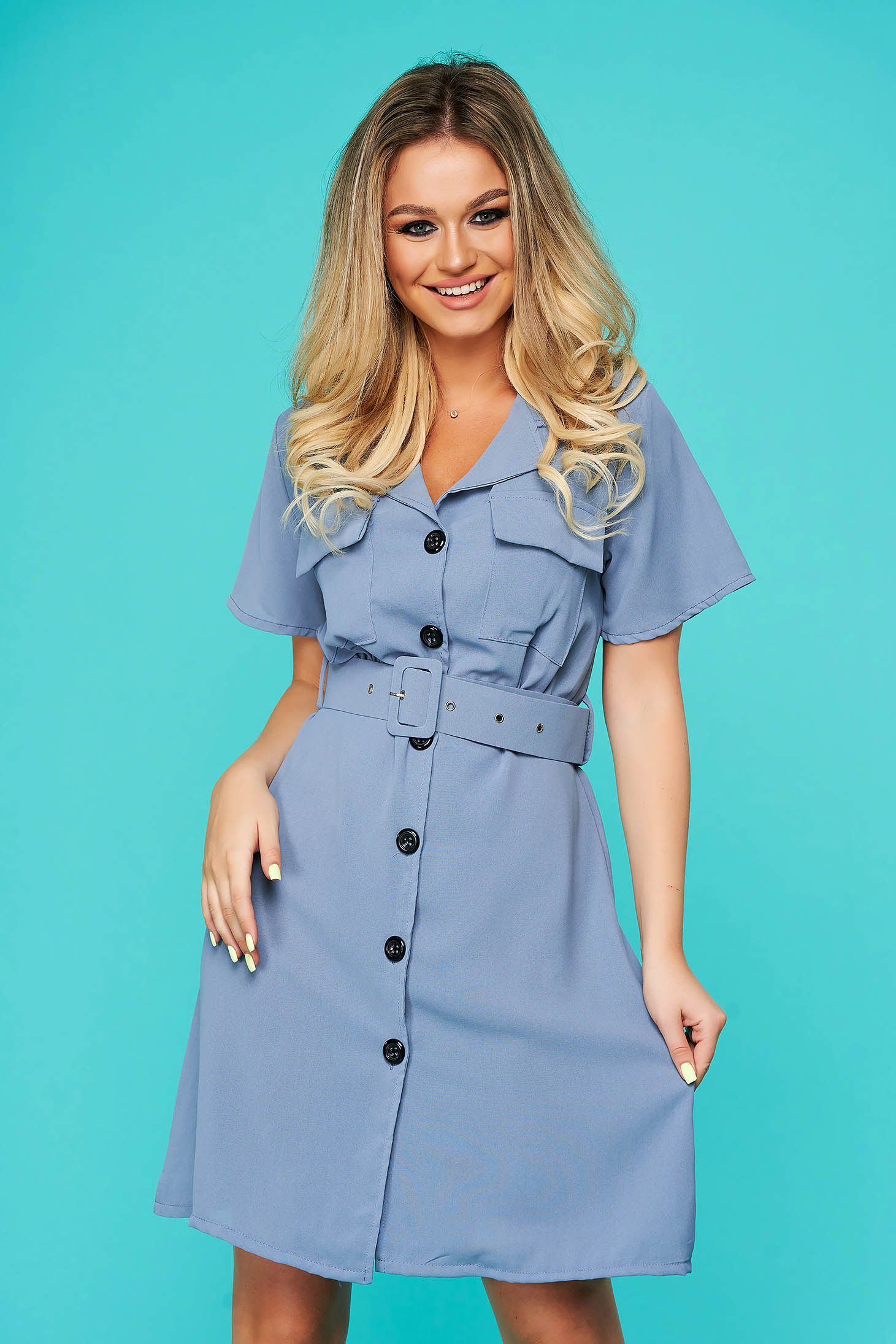 Blue dress short cut daily cloche with pockets thin fabric