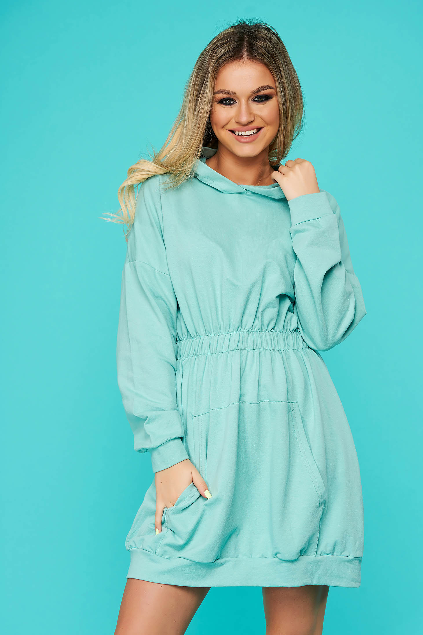 Mint dress casual short cut cotton with undetachable hood with pockets