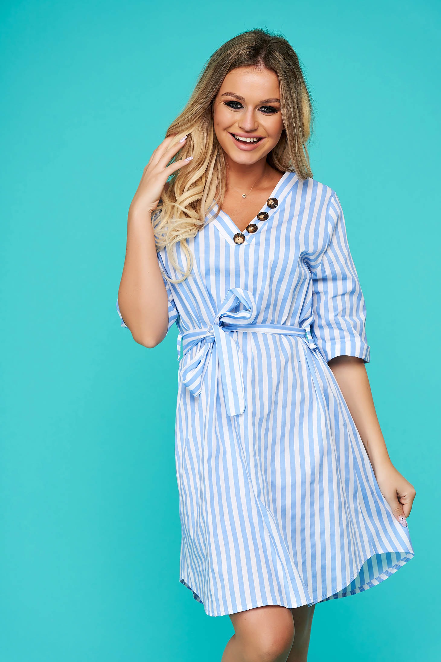 Lightblue dress short cut daily cloche with 3/4 sleeves cotton