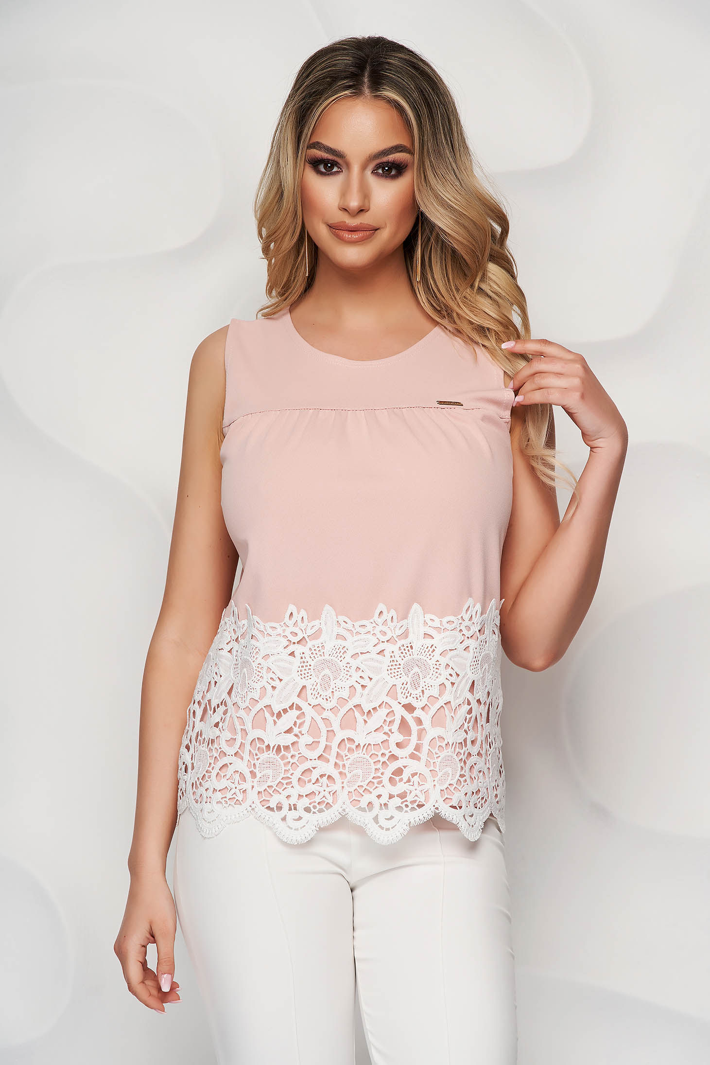 Lightpink top shirt office flared thin fabric with embroidery details