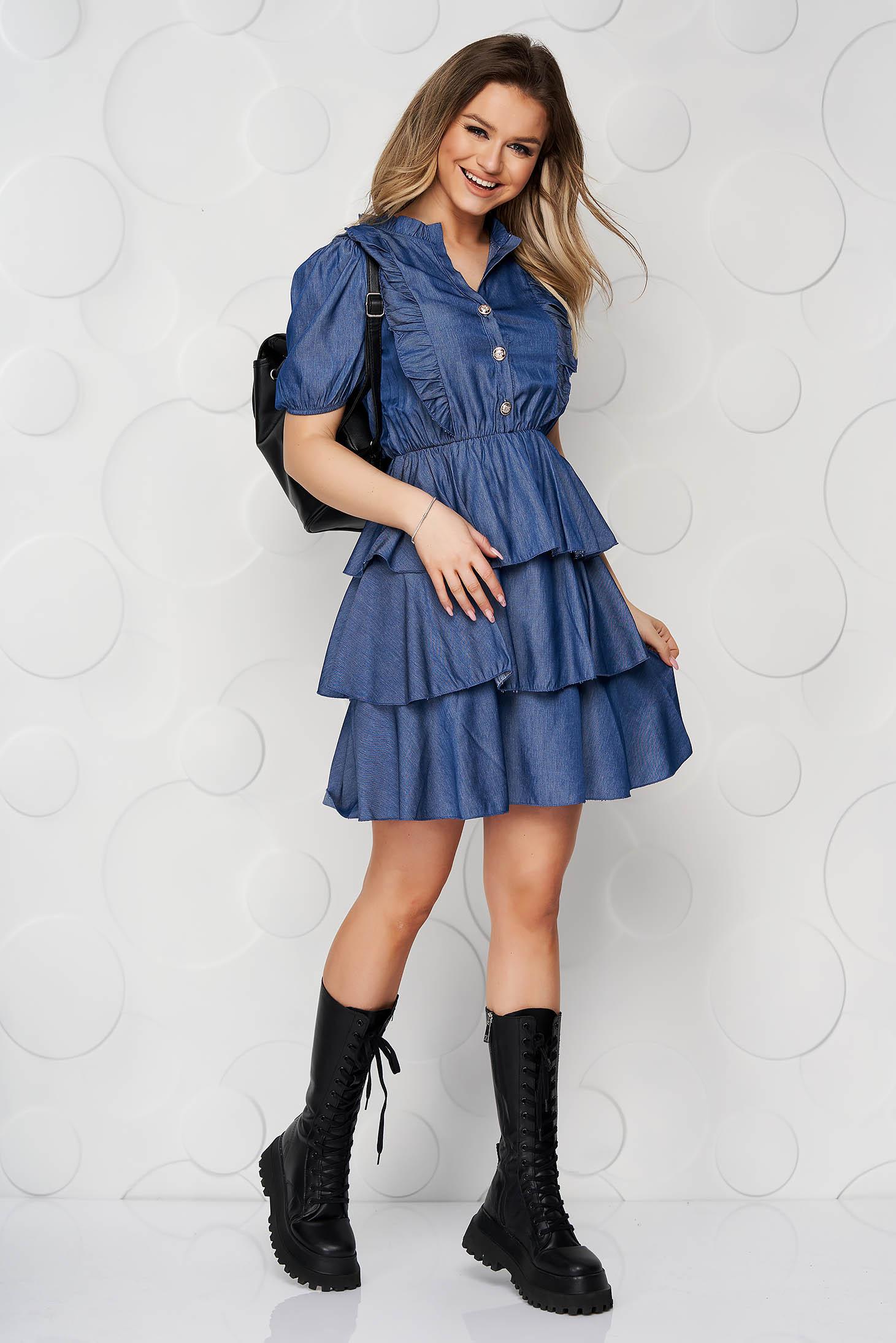 Darkblue dress short cut daily cloche denim with ruffle details