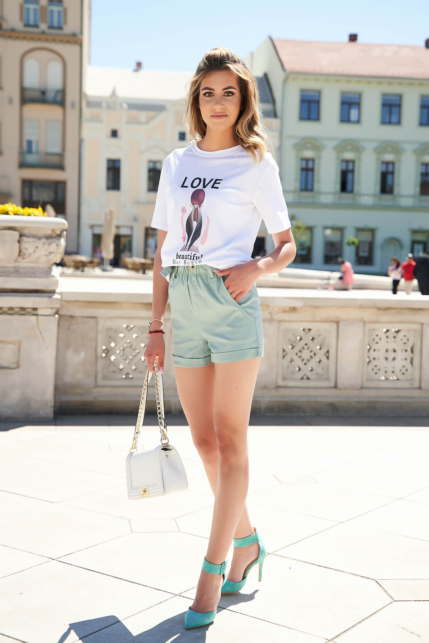 Mint short casual tented high waisted with pockets