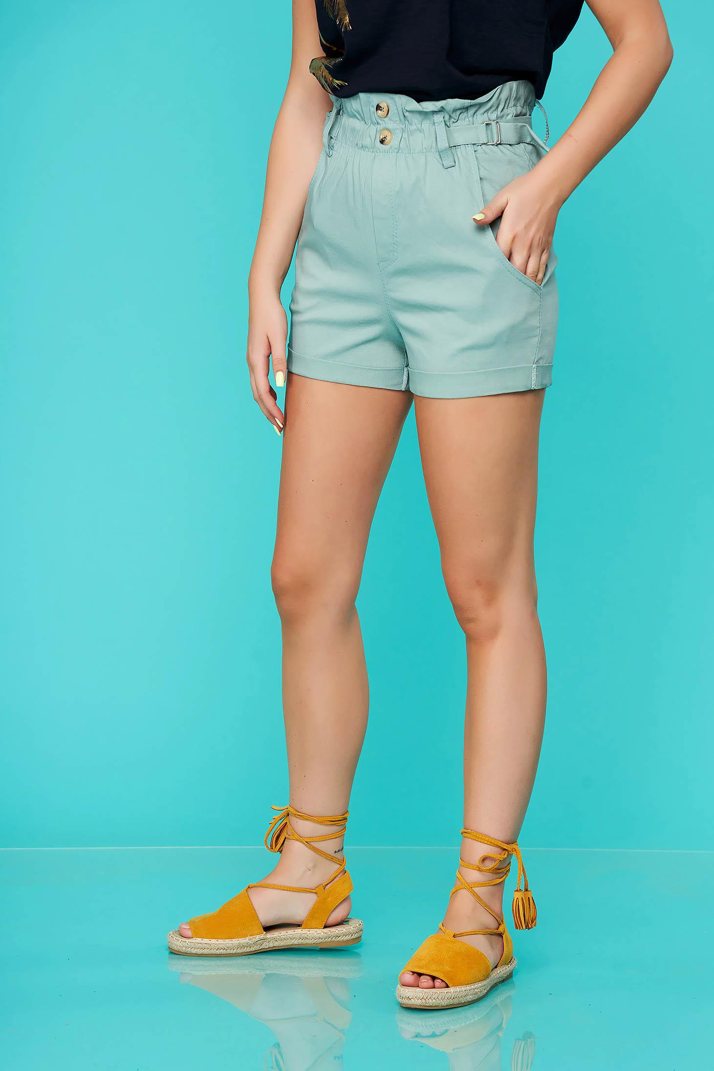 Pantalon scurt SunShine mint casual mulat cu talie inalta si buzunare