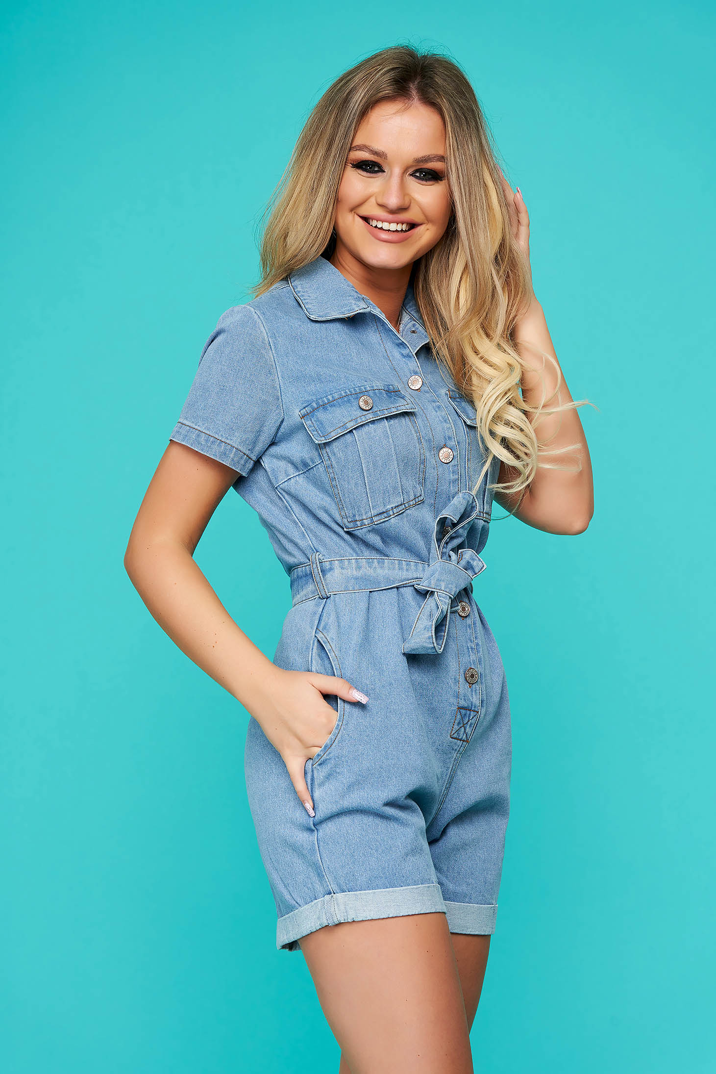 Blue jumpsuit short cut casual denim flared with pockets