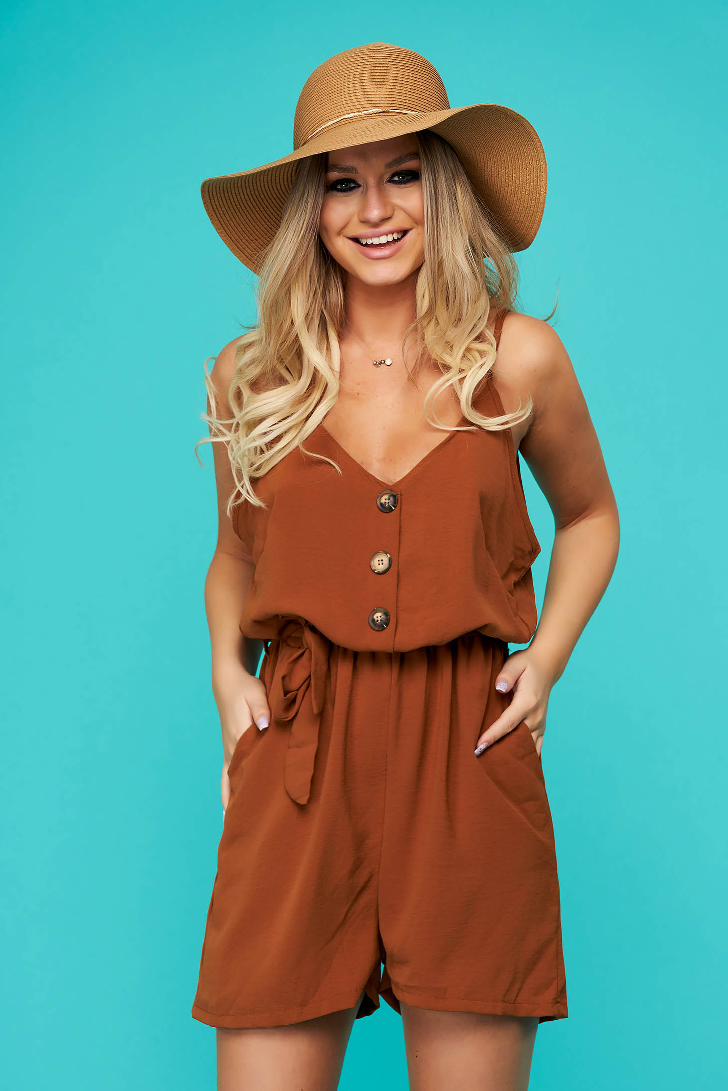 Brown jumpsuit casual flared thin fabric with straps with pockets