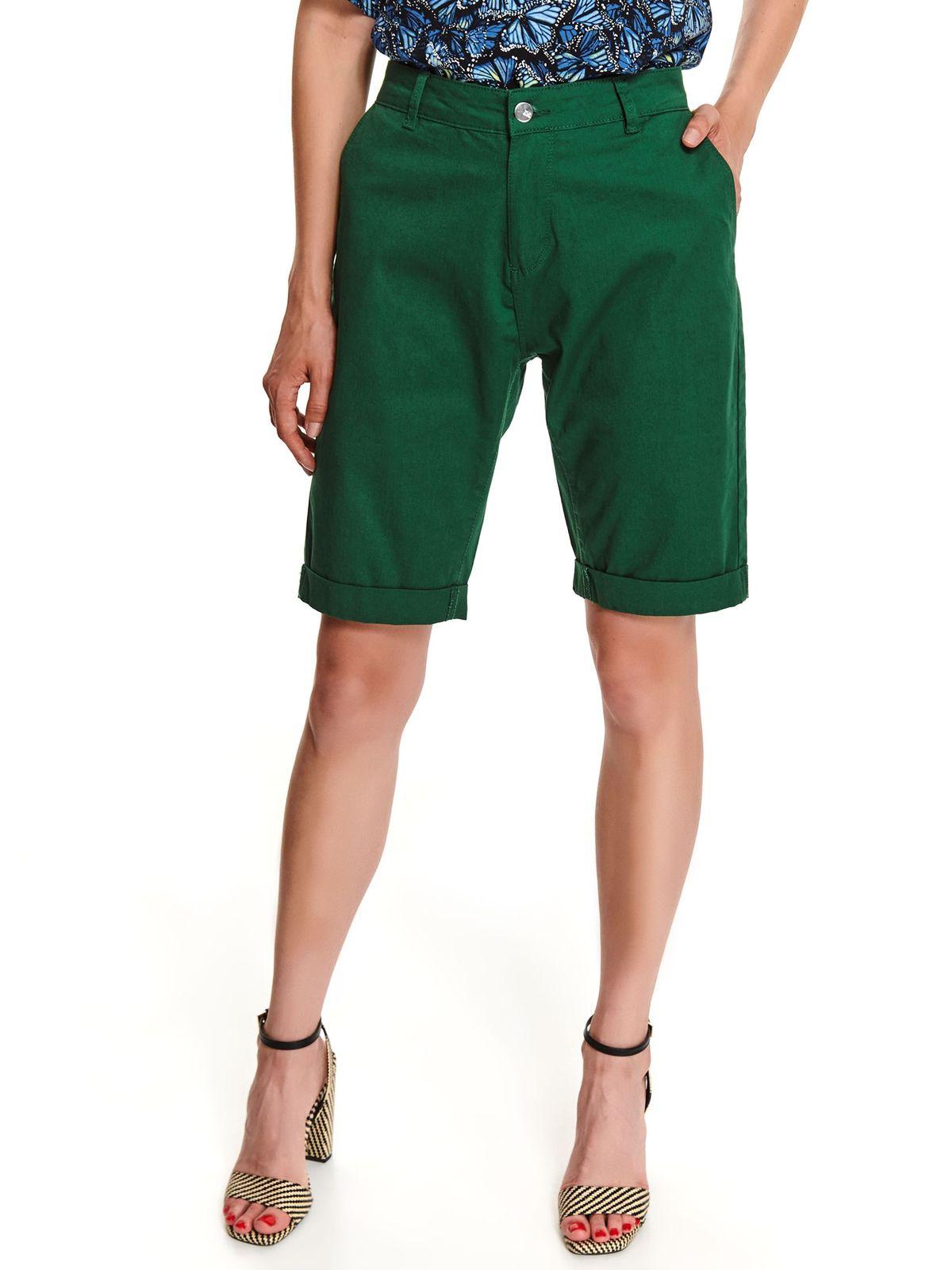 Pantalon scurt Top Secret verde-inchis casual cu croi larg pana la genunchi din denim