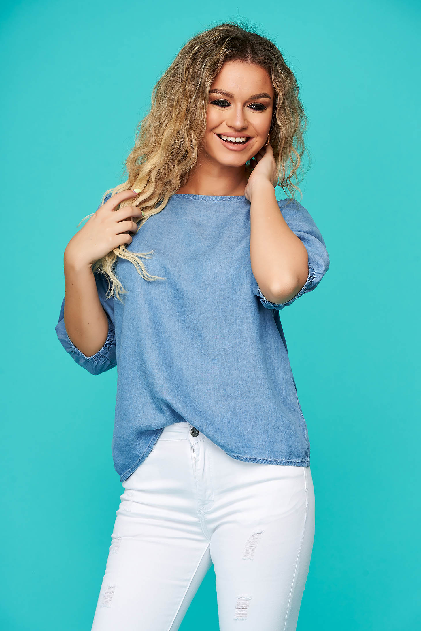 Blue women`s blouse casual denim flared with 3/4 sleeves