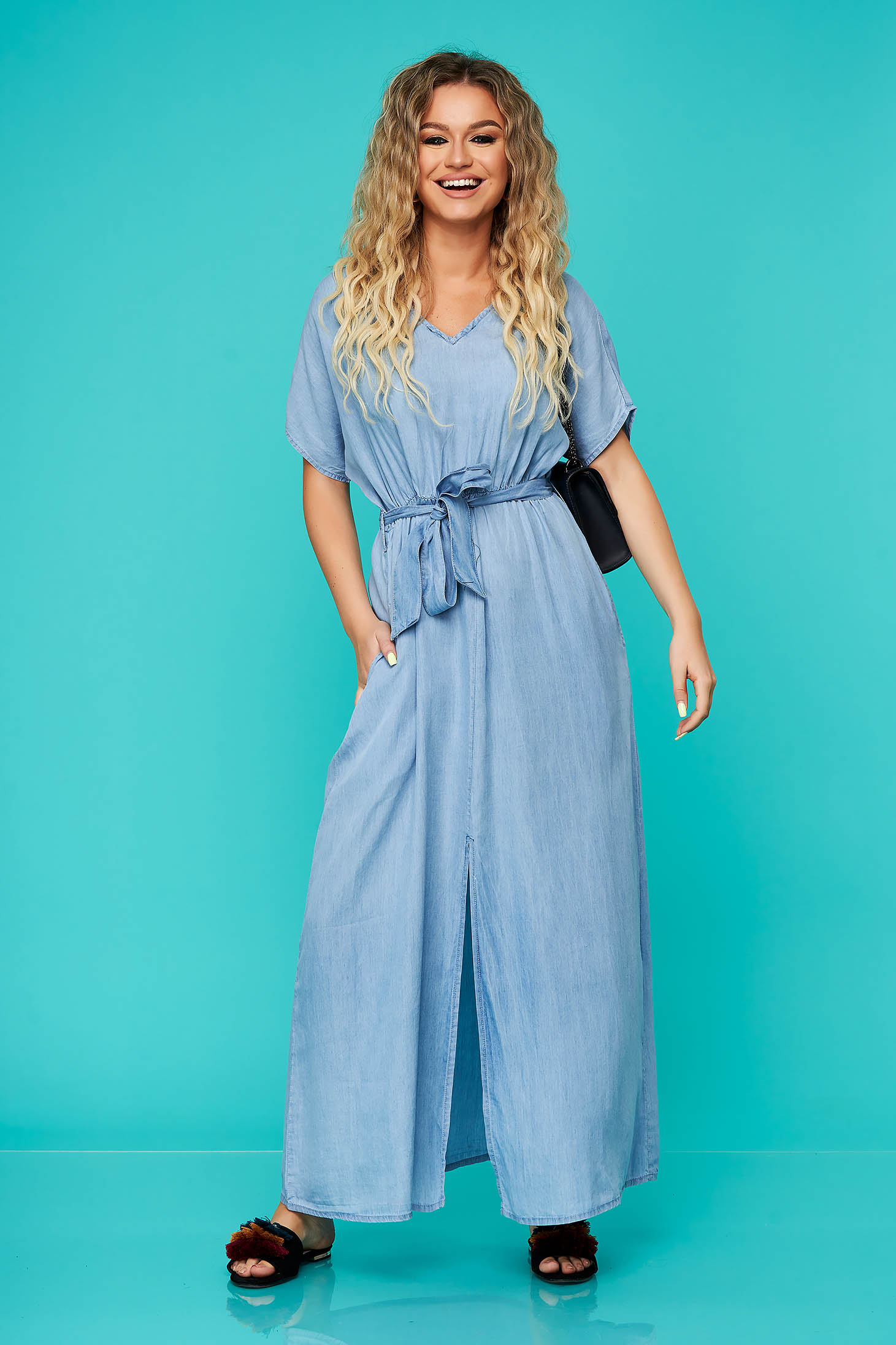 Blue dress long daily cloche with elastic waist denim