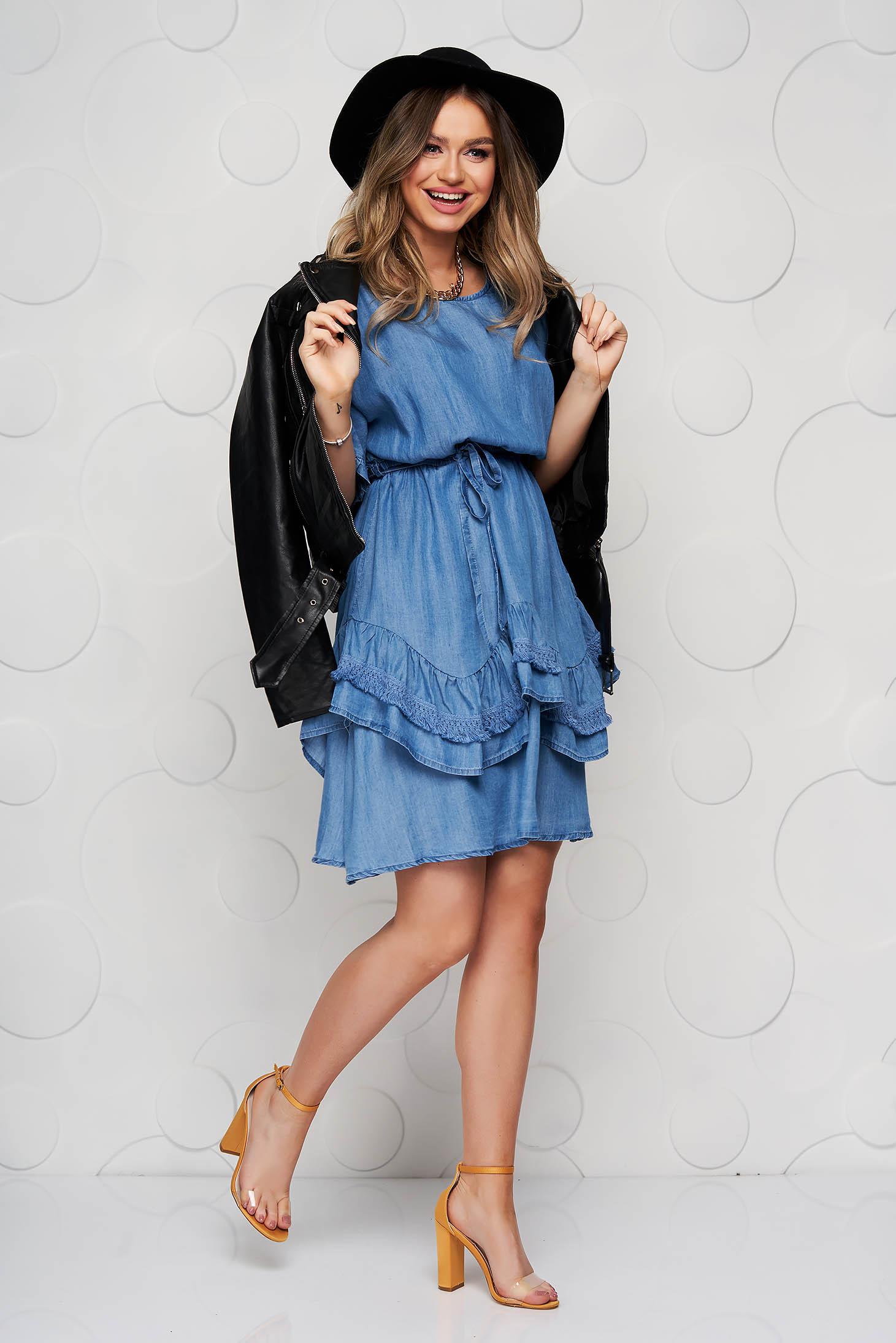 Blue dress short cut denim with ruffle details