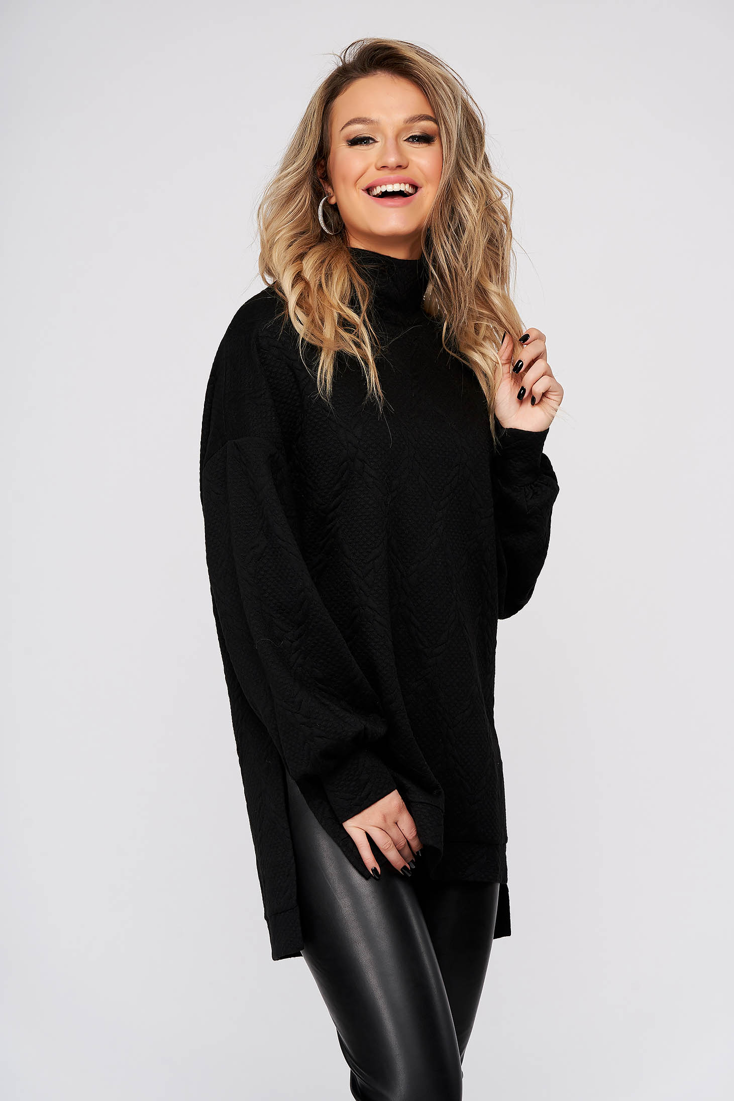 Black women`s blouse casual with turtle neck flared