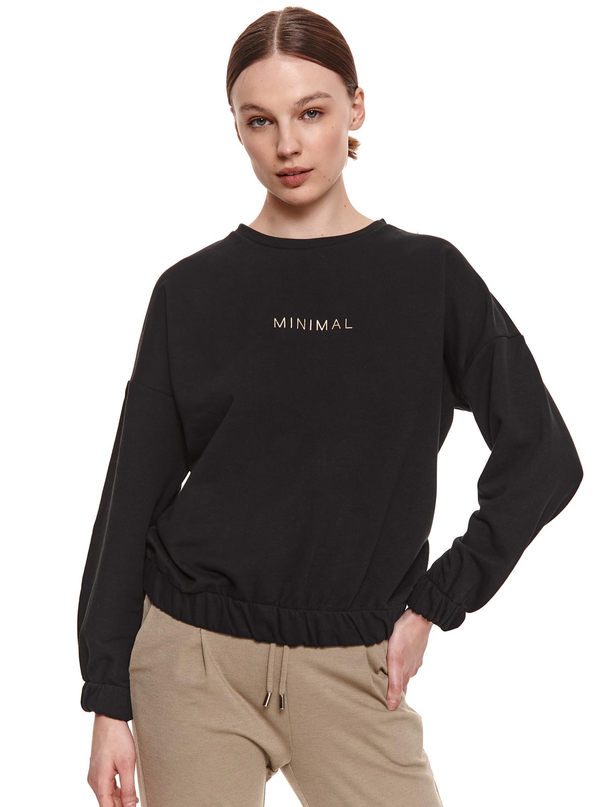 Fekete női blúz casual magas nyakú bő szabású