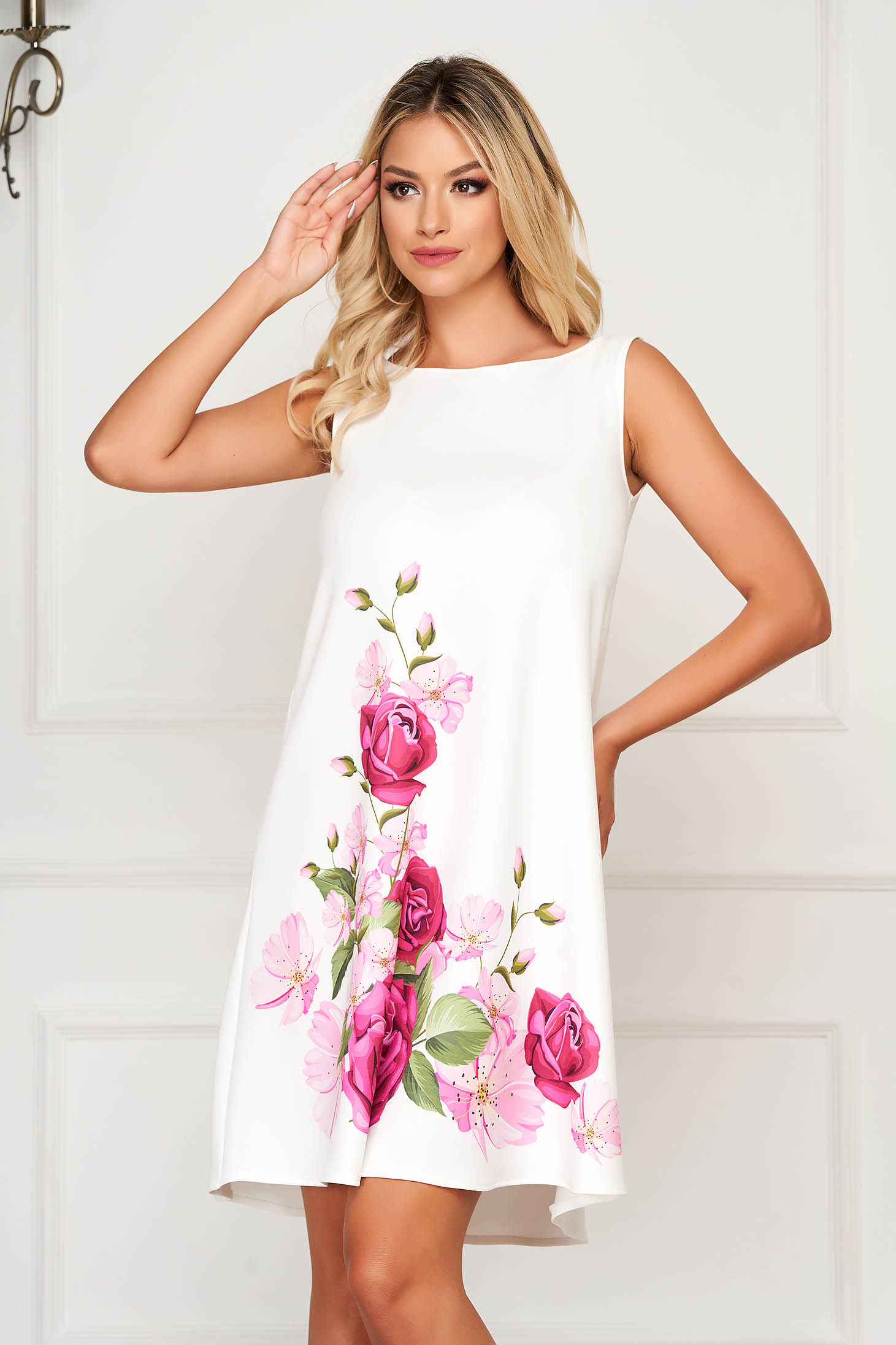 White elegant StarShinerS dress from thin fabric with floral print
