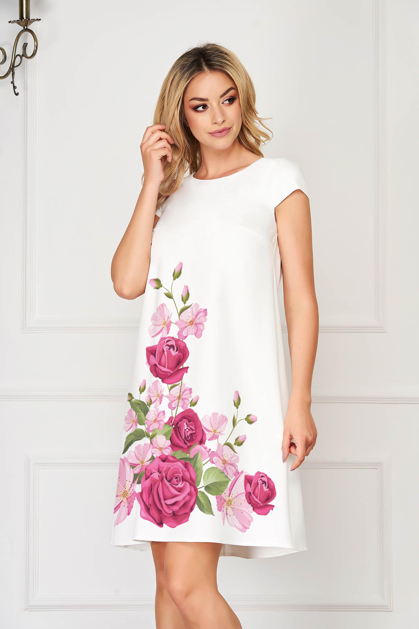 Rochie StarShinerS roz deschis eleganta scurta din stofa din material usor elastic cu imprimeu floral