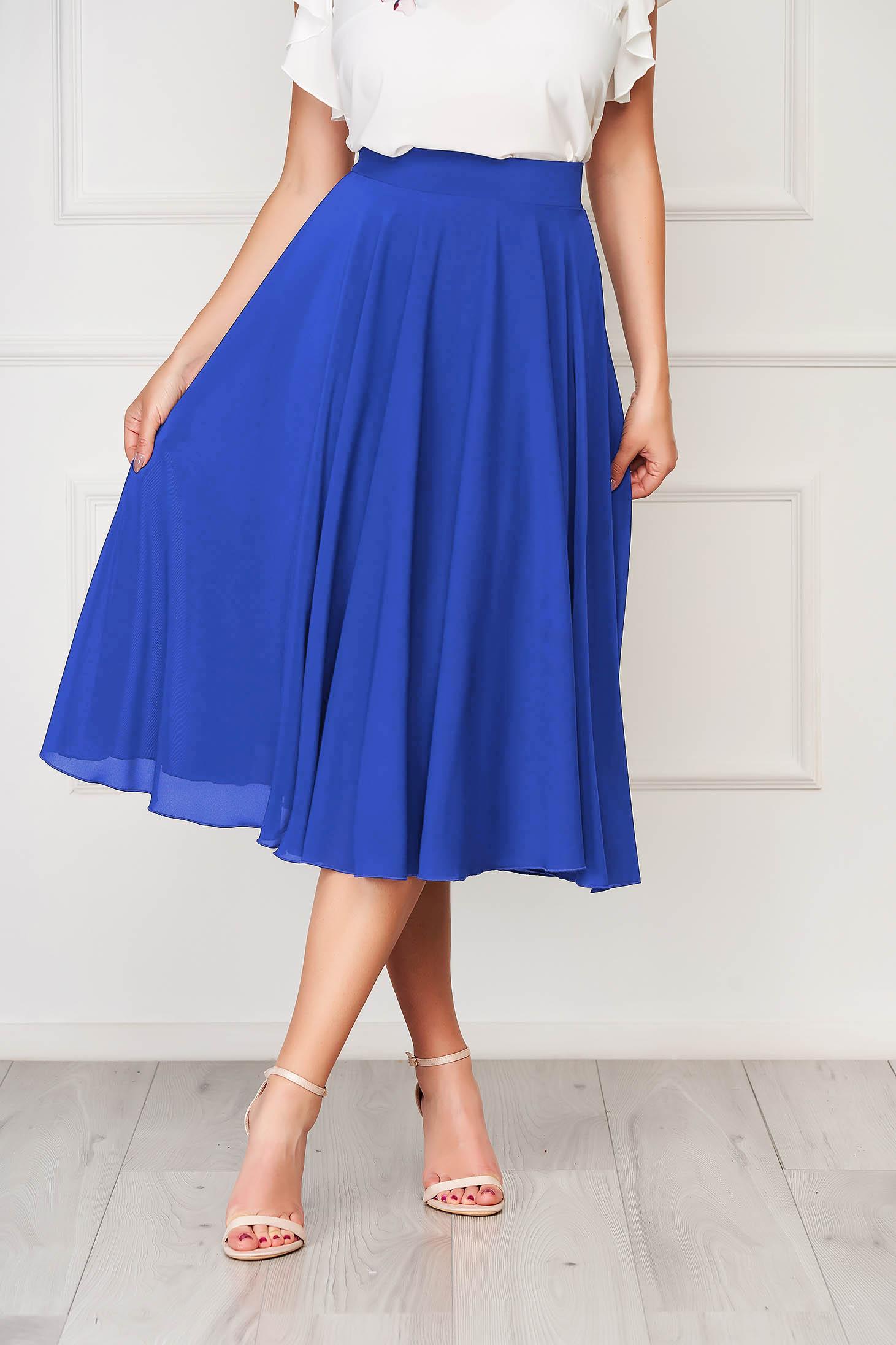 Kék StarShinerS magas derekú elegáns midi harang szoknya muszlinból